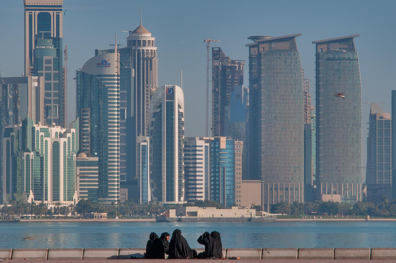 Picnic on Corniche at morning. Doha, Qatar