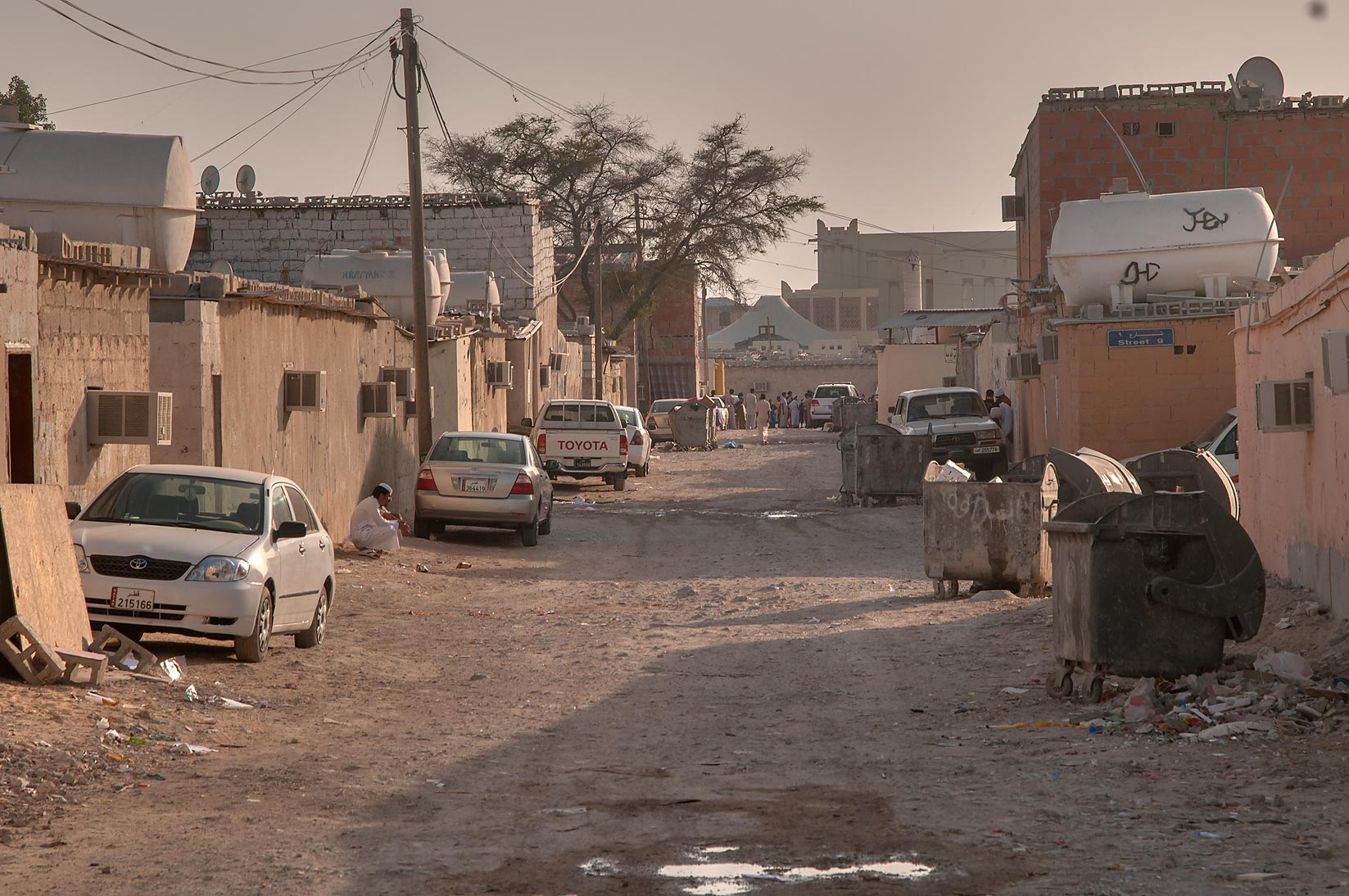 Street in Baluchi (Pakistani) Camp in Abu Hamour area. Doha, Qatar