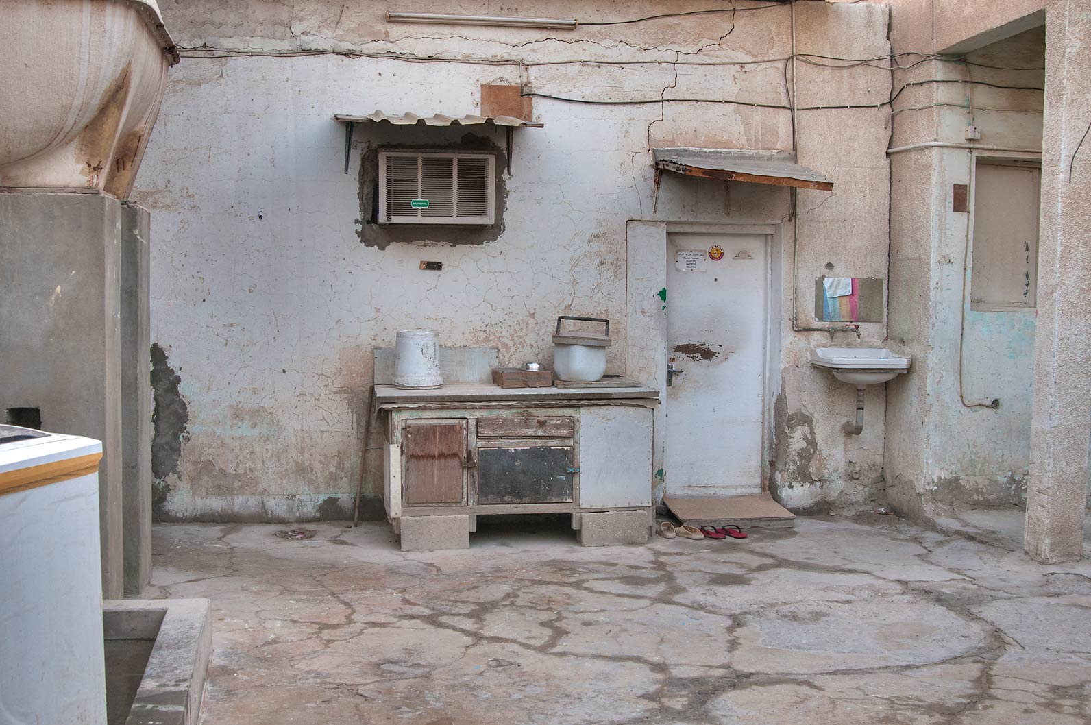 Primitive kitchen at Al Jassasiya St., Musheirib area. Doha, Qatar