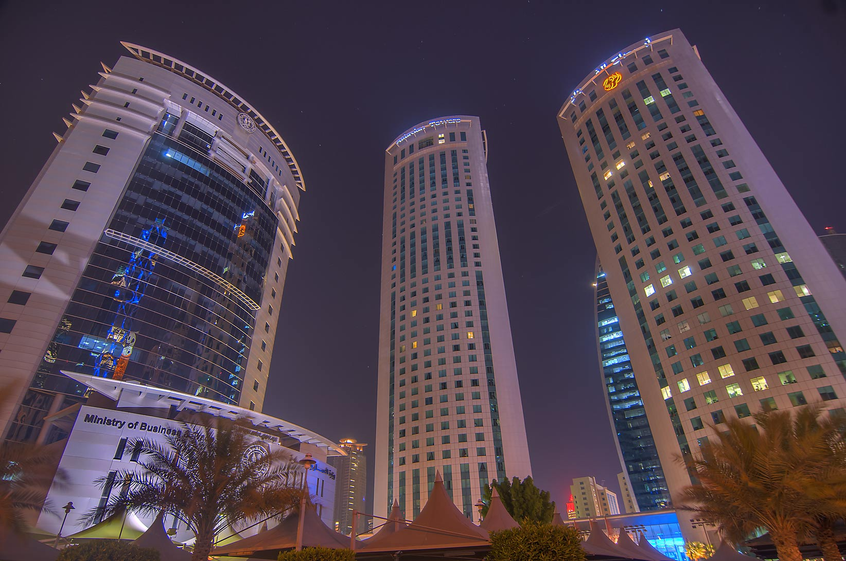 Ministry of Business and Al Fardan twin towers near Al Funduq St. in West Bay. Doha, Qatar