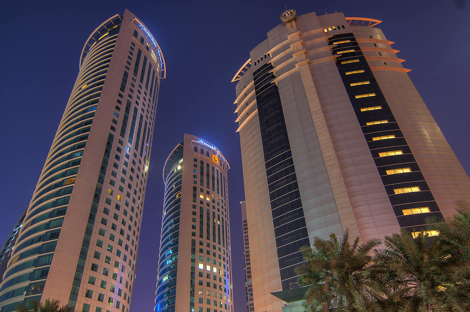 Al Fardan twin towers and Ministry of Trade in West Bay. Doha, Qatar
