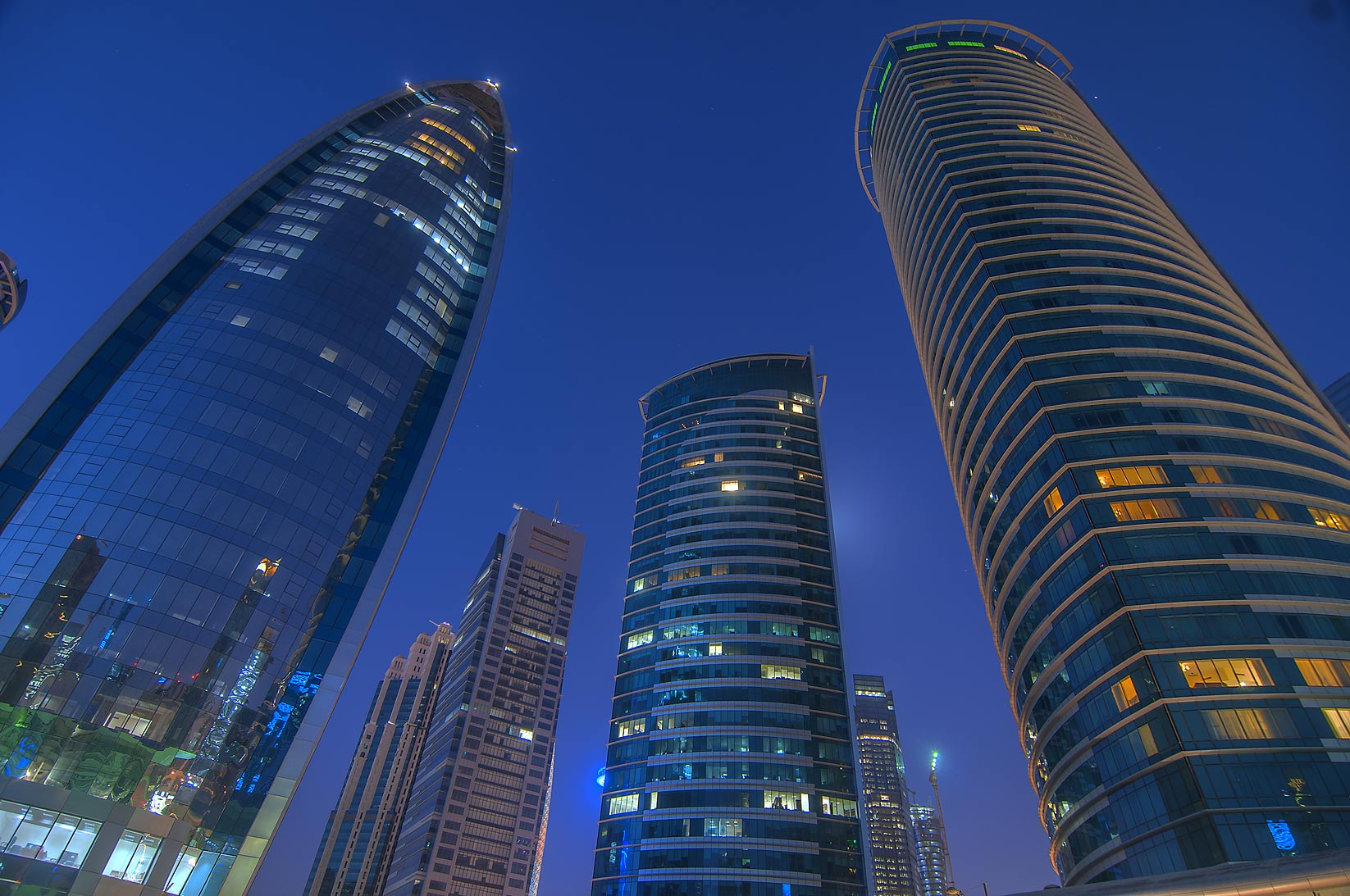 Woqod and Al Fardan twin towers at morning in West Bay. Doha, Qatar