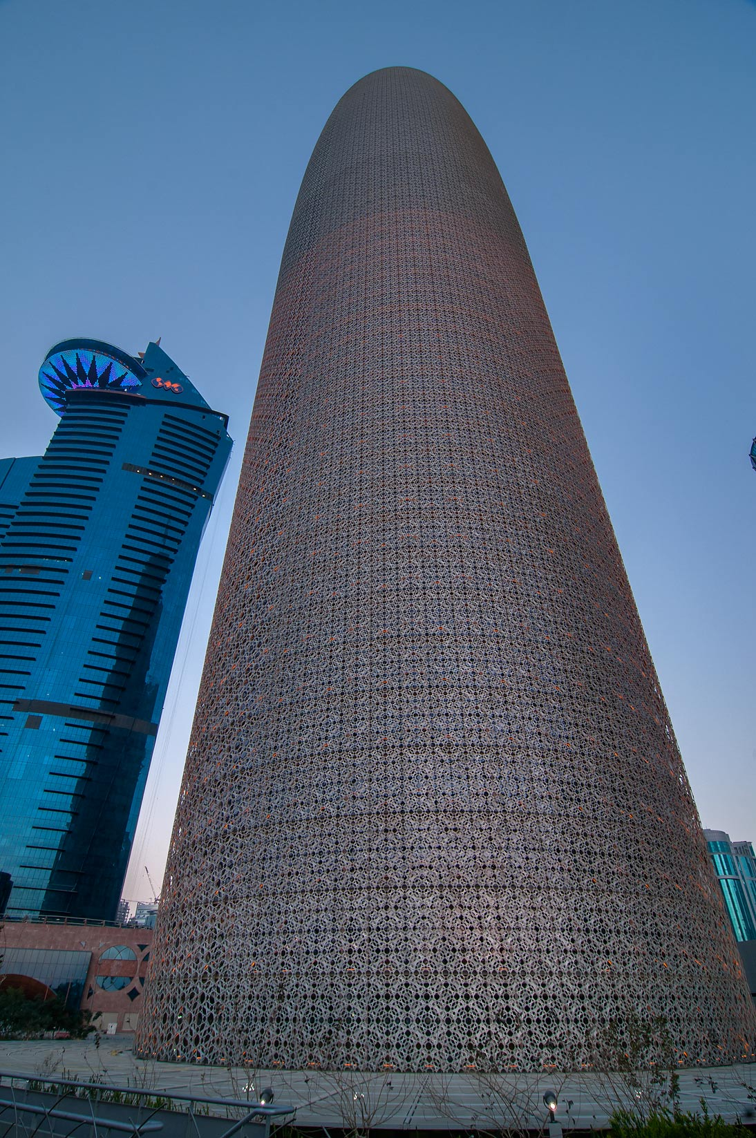 Burj Qatar Tower in West Bay at morning. Doha, Qatar