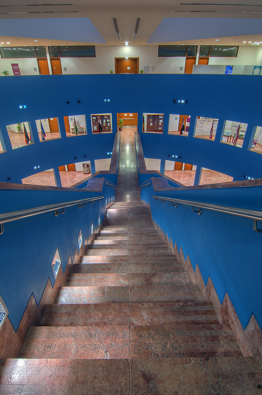 Stairs of research area (Blue Rotunda) of Texas A...City, Rayyan area. Doha, Qatar