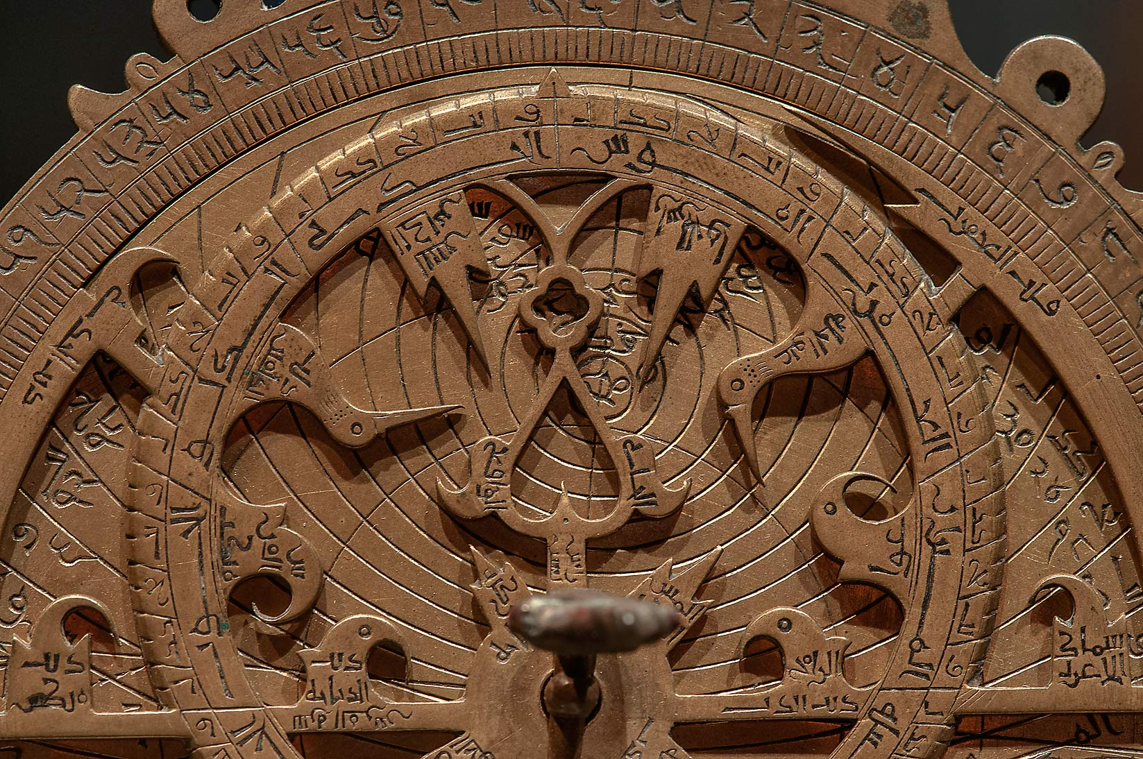 Details of brass astrolabe on display in Museum of Islamic Art. Doha, Qatar