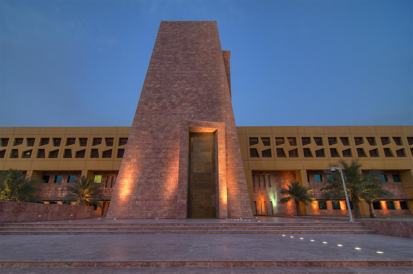 Main entrance of Texas A&M University in Education City. Doha, Qatar