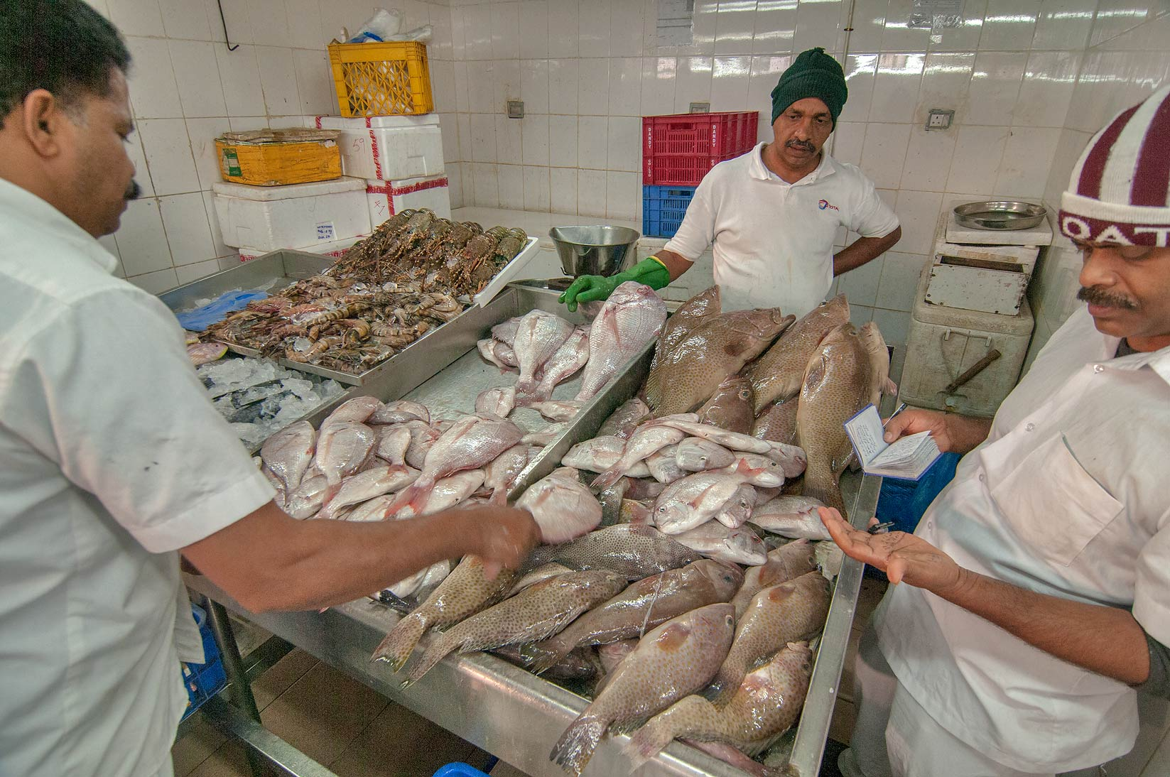 Counting fish in Wholesale Fish Market. Doha, Qatar