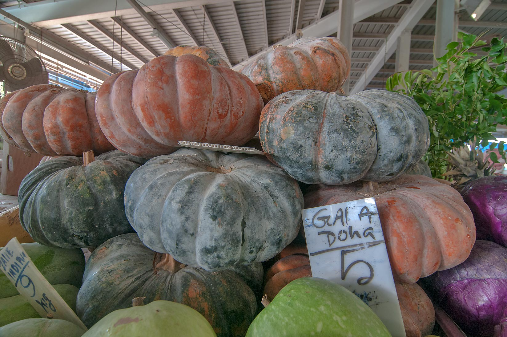 Pumpkins in Fruit and Vegetable Market, Abu Hamour area. Doha, Qatar