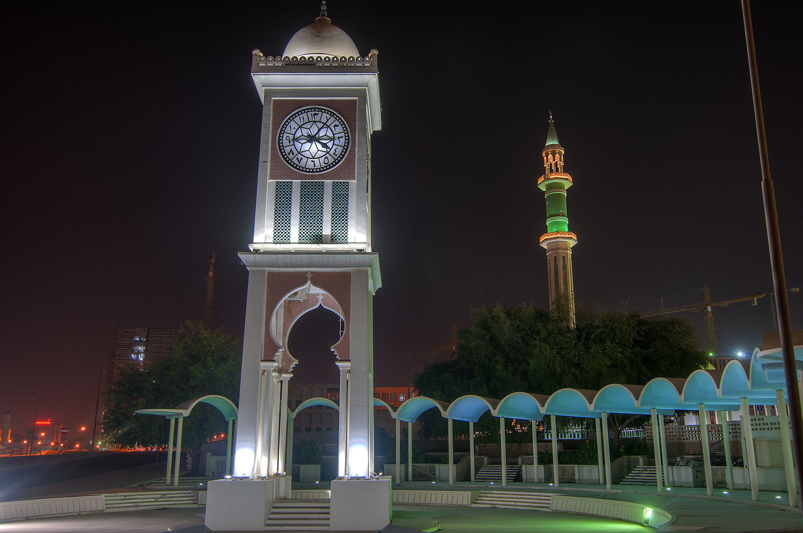 Clock Tower and Grand Mosque, Al Bidda area. Doha, Qatar