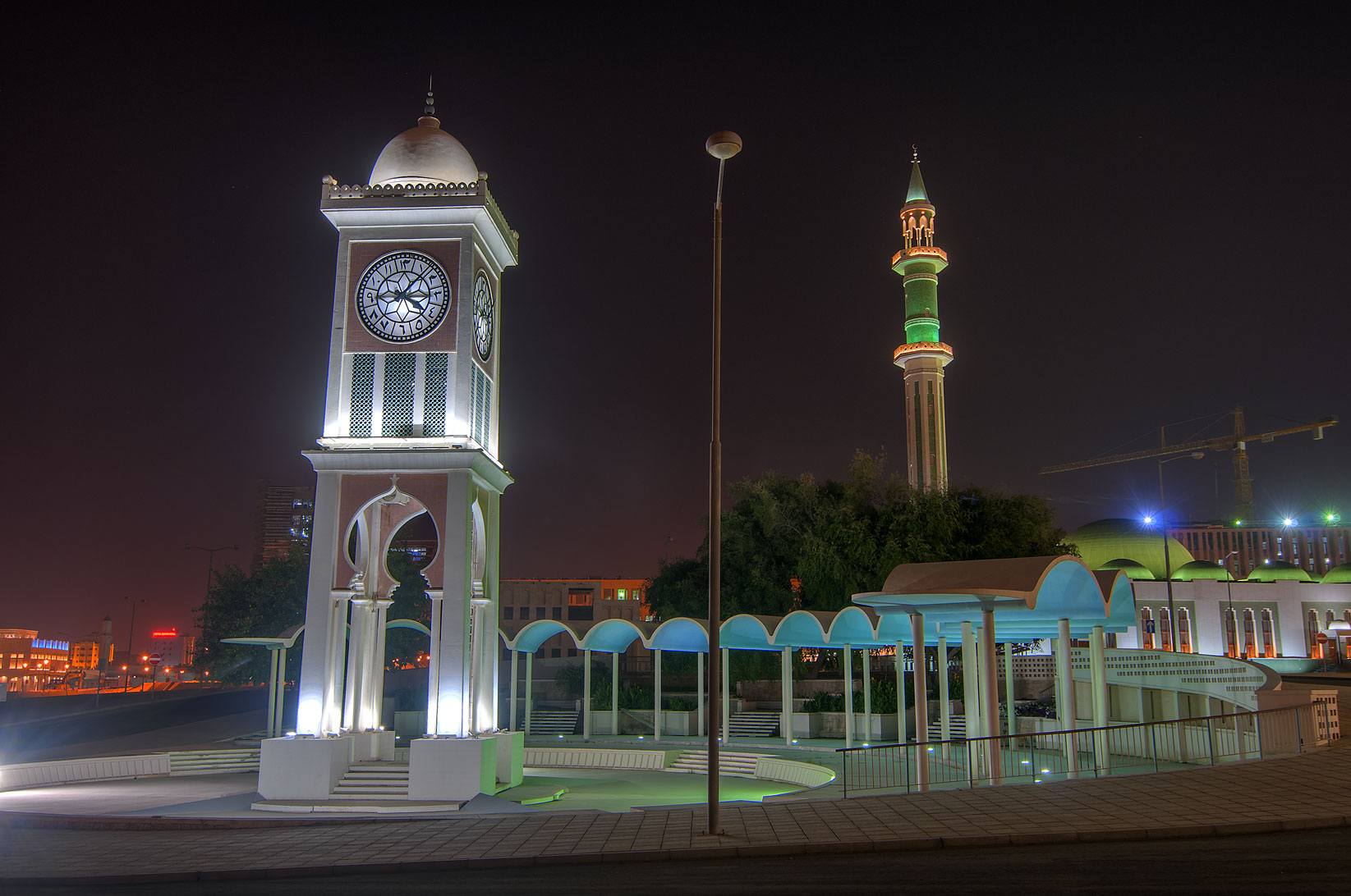 Clock Tower with Grand Mosque in background, Al Bidda area. Doha, Qatar