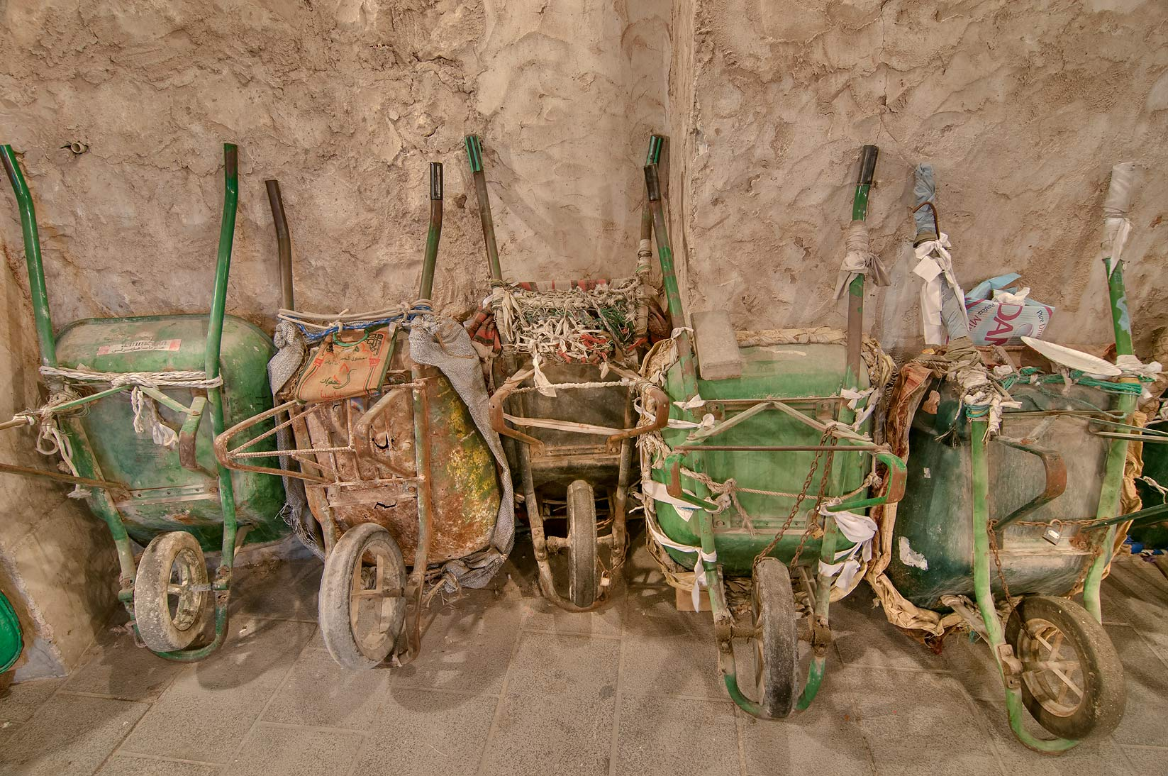 Wheelbarrows in Souq Waqif (Old Market). Doha, Qatar