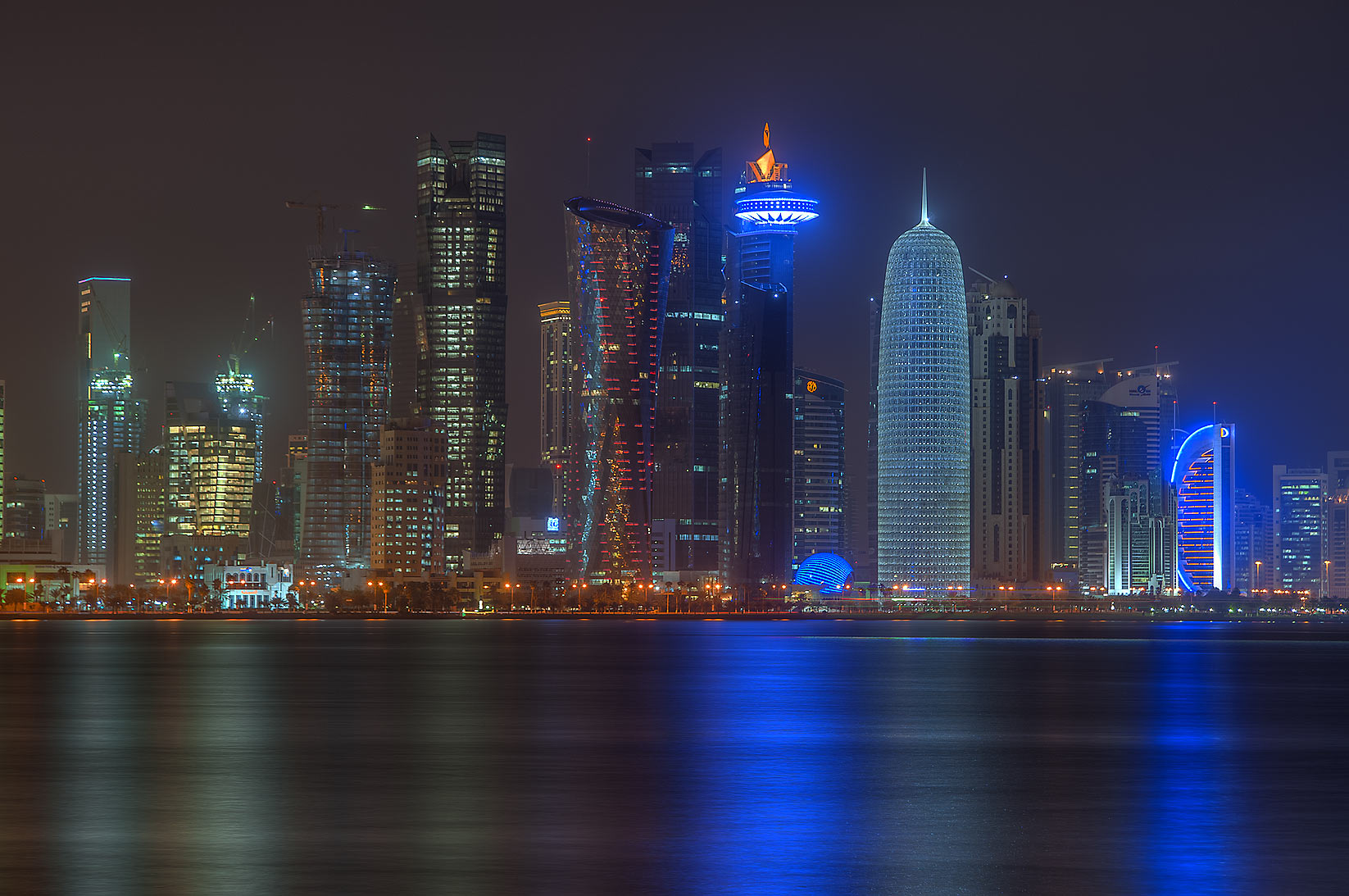Towers of West Bay area from Corniche promenade. Doha, Qatar
