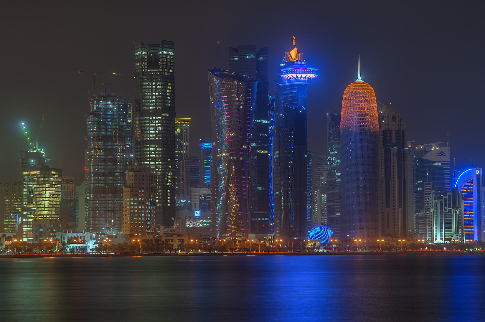 Towers of West Bay area from Corniche promenade at morning. Doha, Qatar