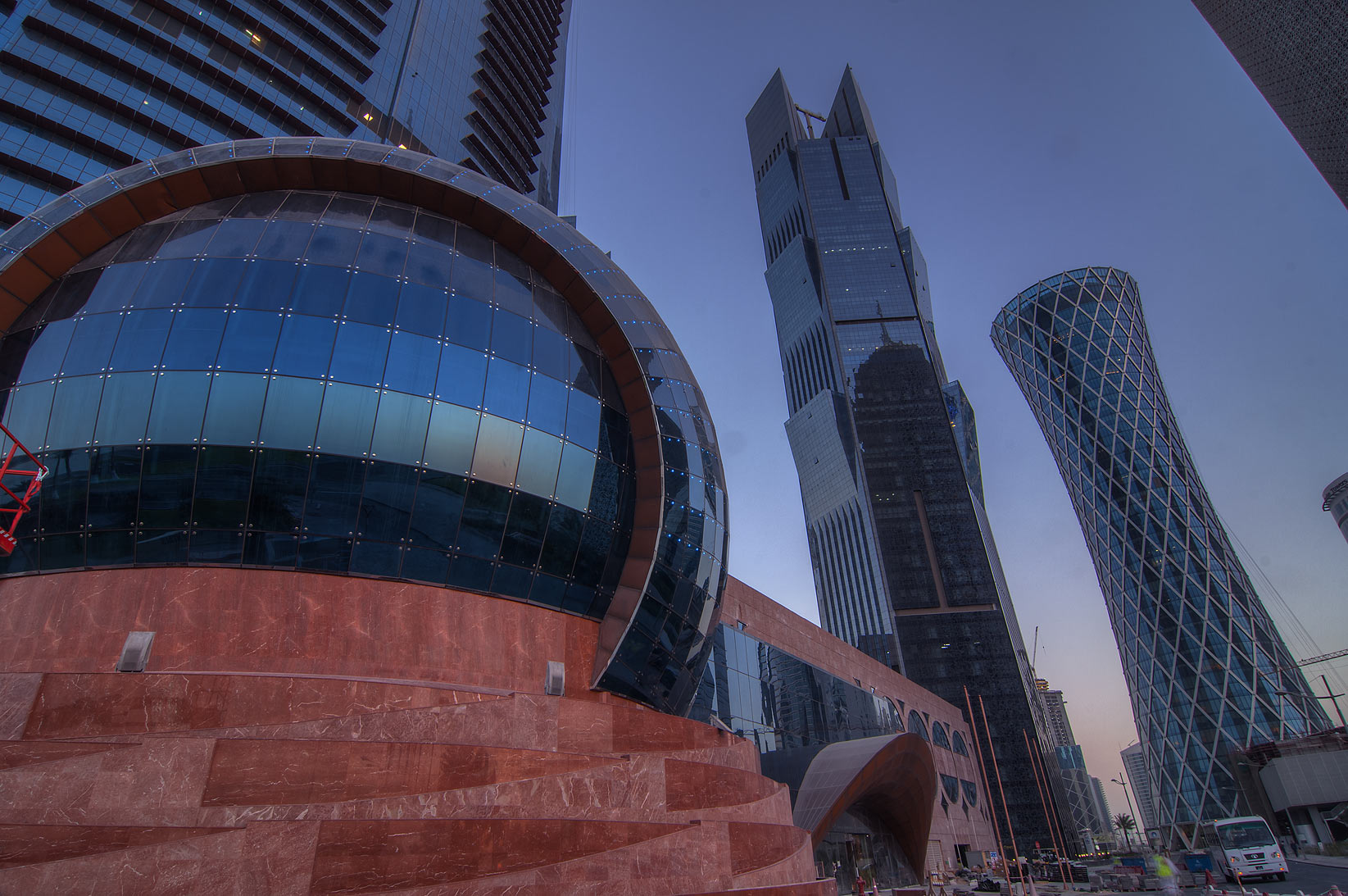 WTC, Palm and Tornado tower in West Bay near Corniche. Doha, Qatar