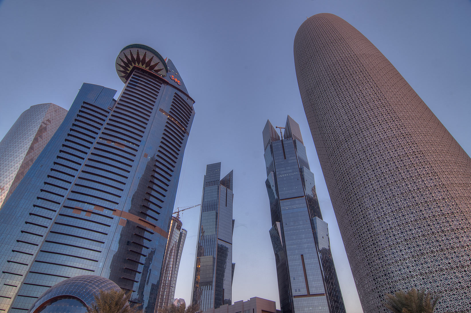 Area of WTC and Burj Qatar towers in West Bay from Corniche. Doha, Qatar