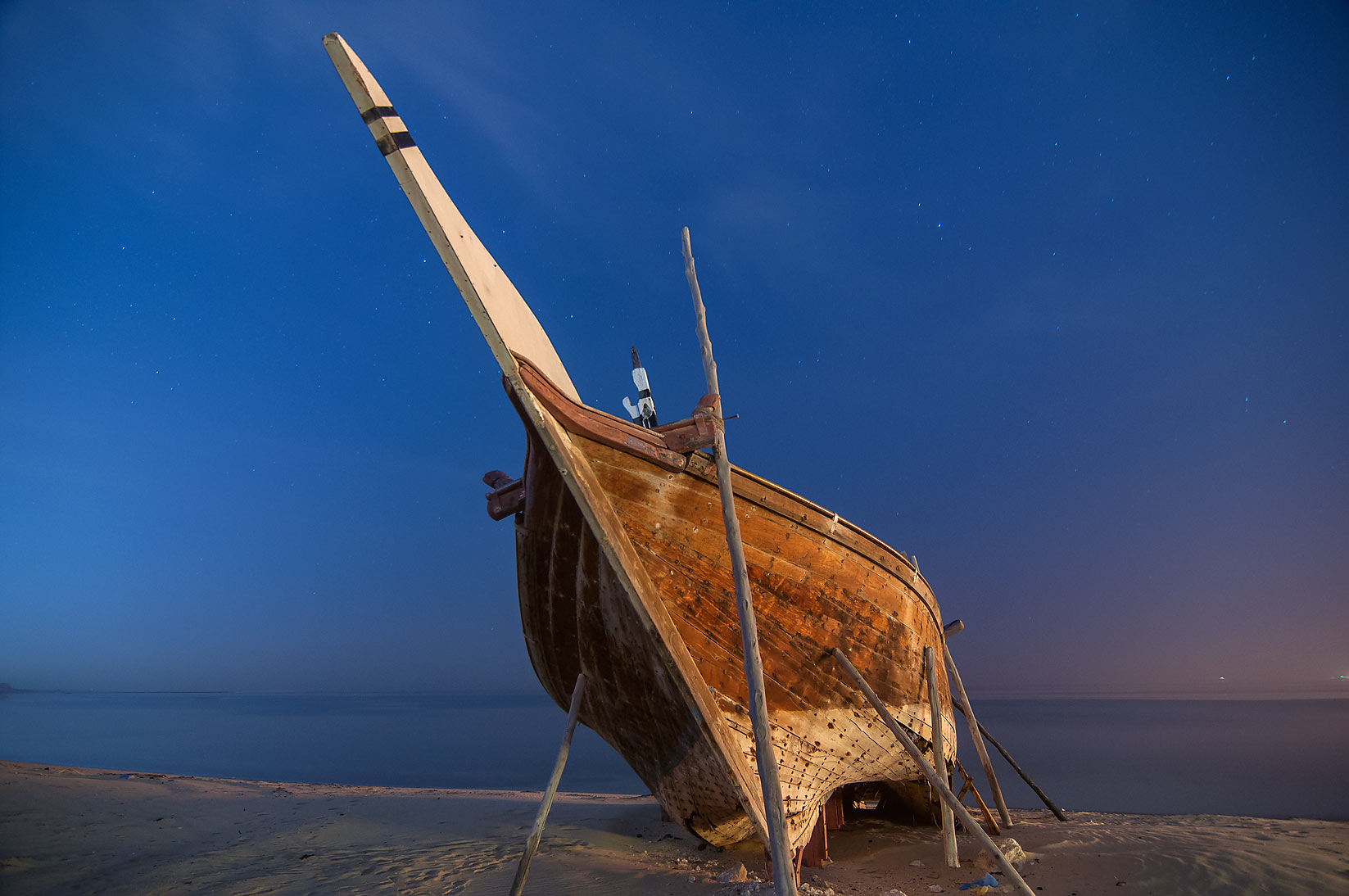 Dhow fishing boat in Al Wakra at morning. Qatar