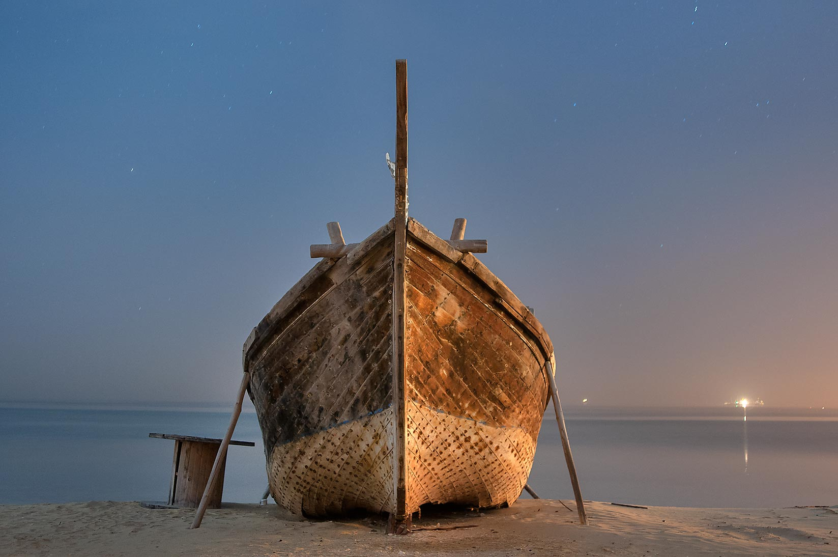 Beached fishing boat in Al Wakra at morning. Qatar