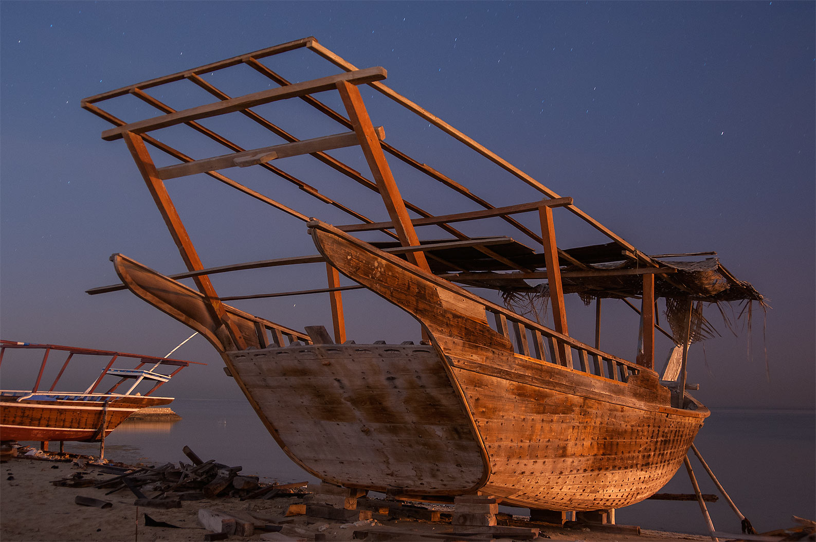 Large dhow fishing boat in Al Wakra at morning. Qatar