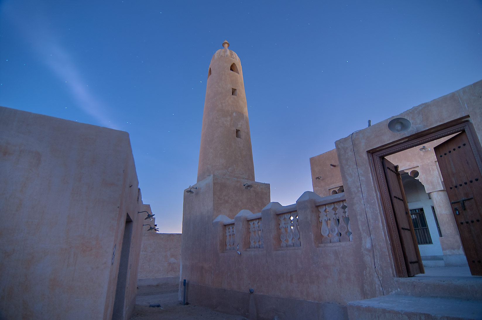 Mosque in a restored village in Al Wakra at morning. Qatar