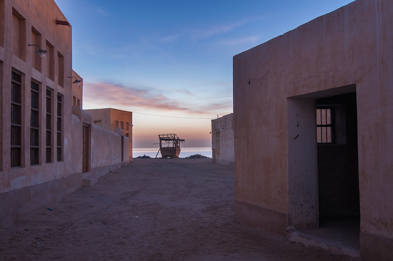 Restored village in Al Wakra at morning. Qatar