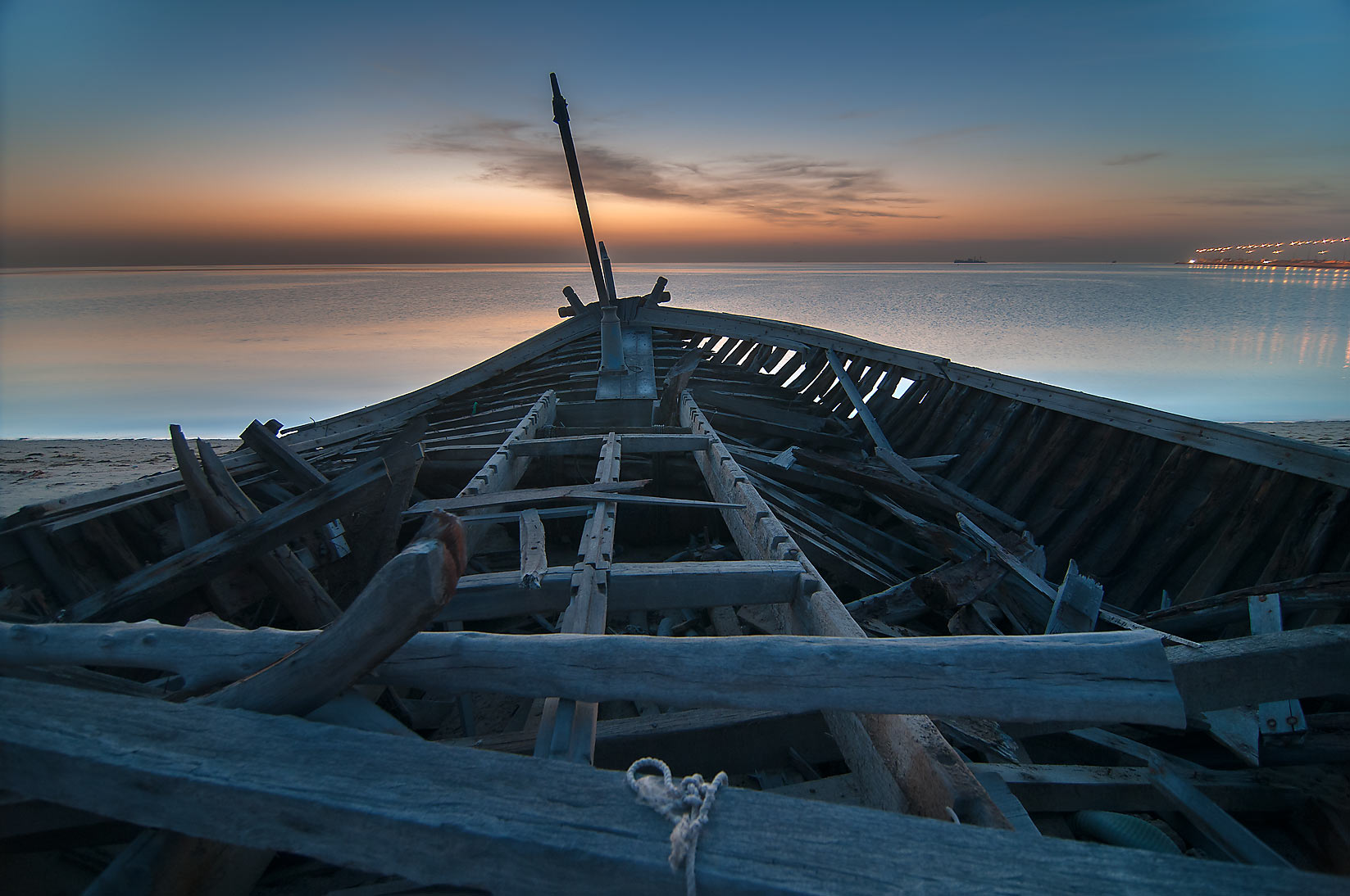 Beached fishing boat in Al Wakra at morning dusk. Qatar