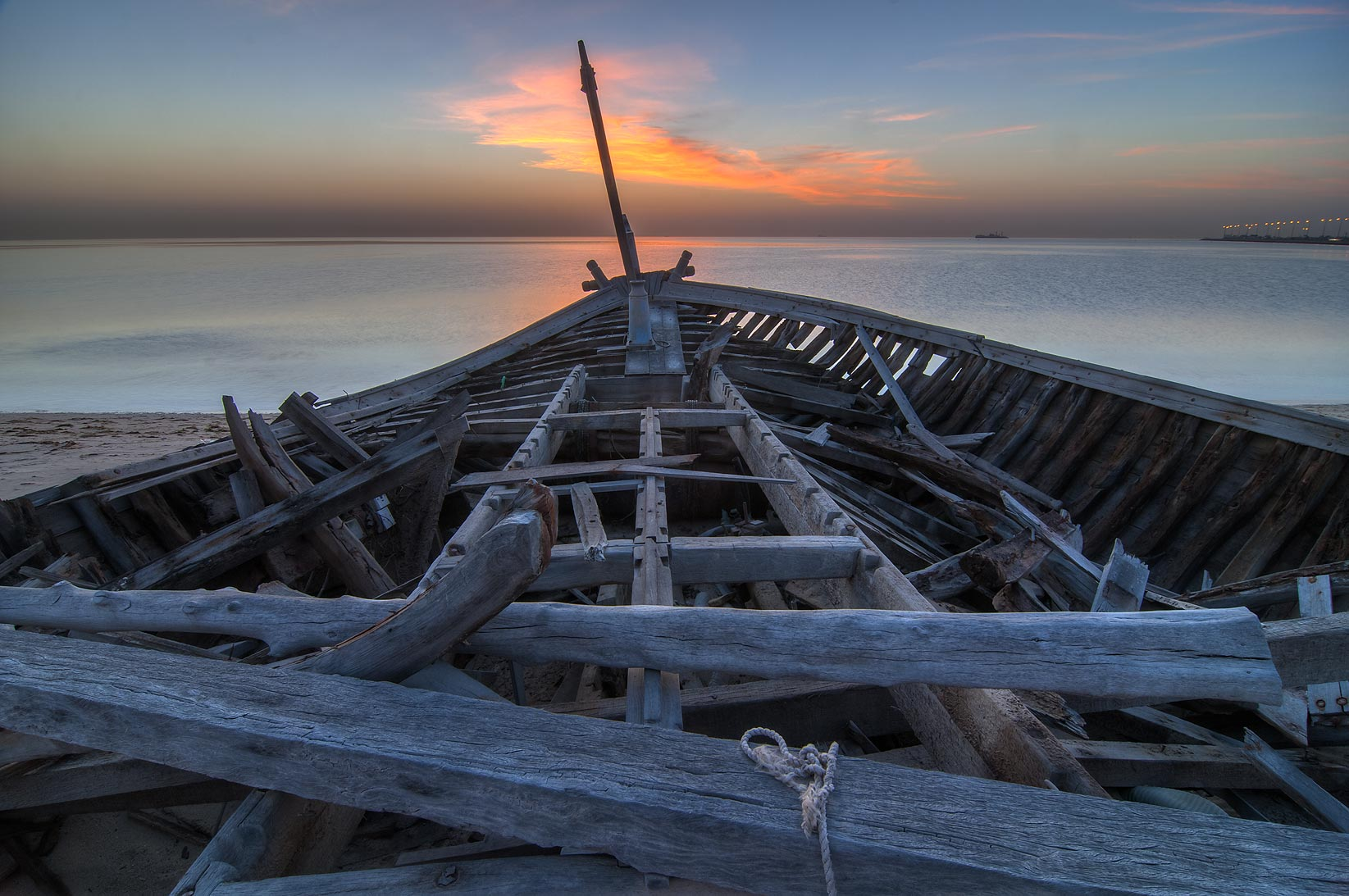 Fishing boat in Al Wakra at sunrise. Qatar