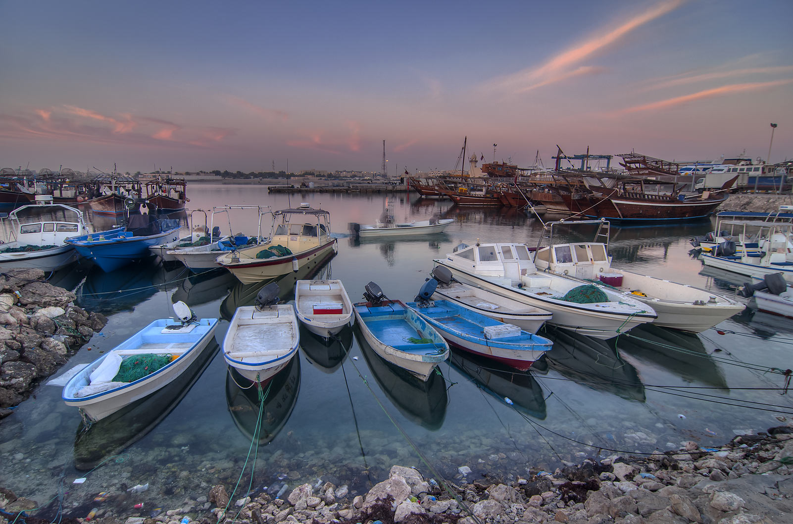 Boats in harbor in Al Wakra at morning. Qatar