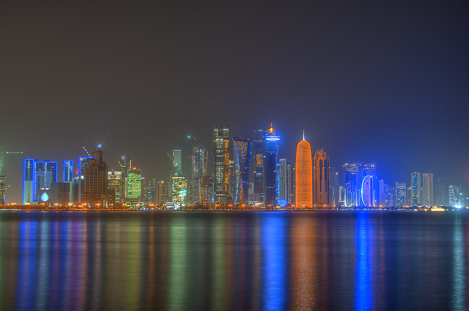 West Bay area from Corniche promenade at morning. Doha, Qatar