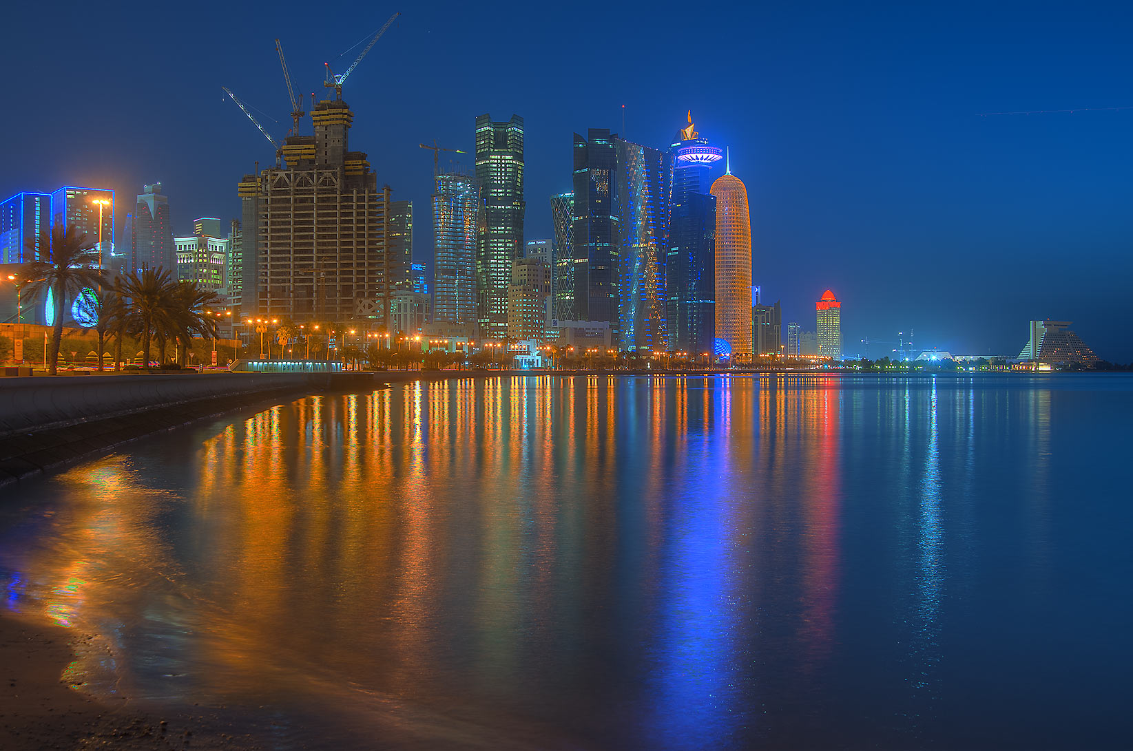 West Bay area from Corniche promenade at morning dusk. Doha, Qatar