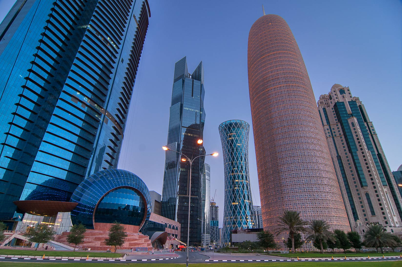 Area of WTC Tower in West Bay from Corniche promenade. Doha, Qatar