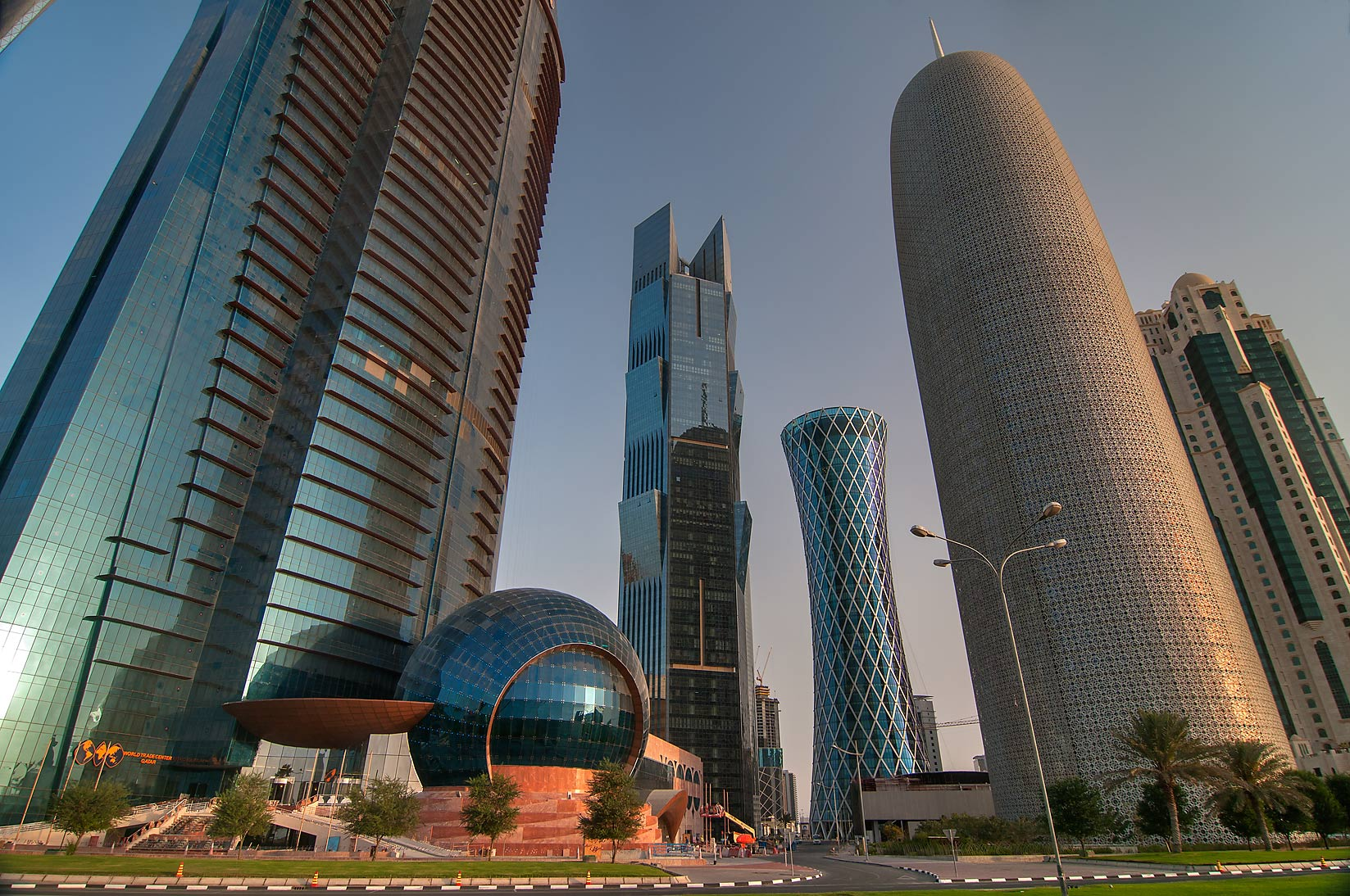 West Bay towers from Corniche promenade at sunrise. Doha, Qatar