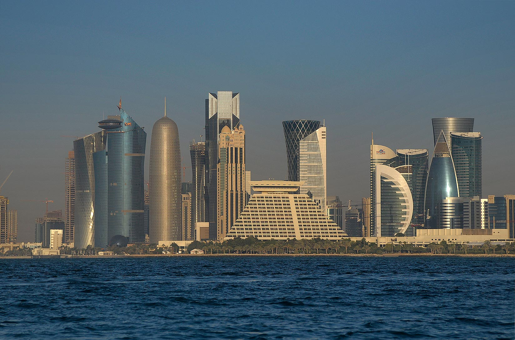 View of Sheraton Hotel and West Bay in Doha from a boat. Qatar