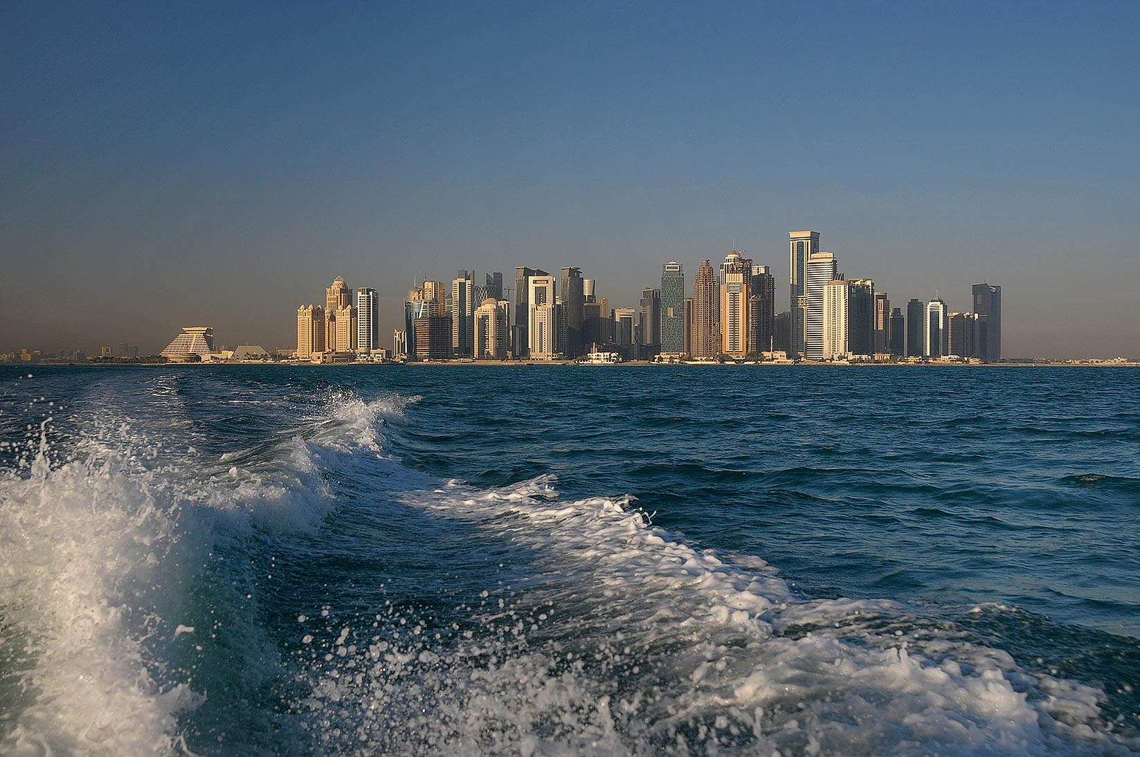 View of West Bay area in Doha from a boat tail. Qatar