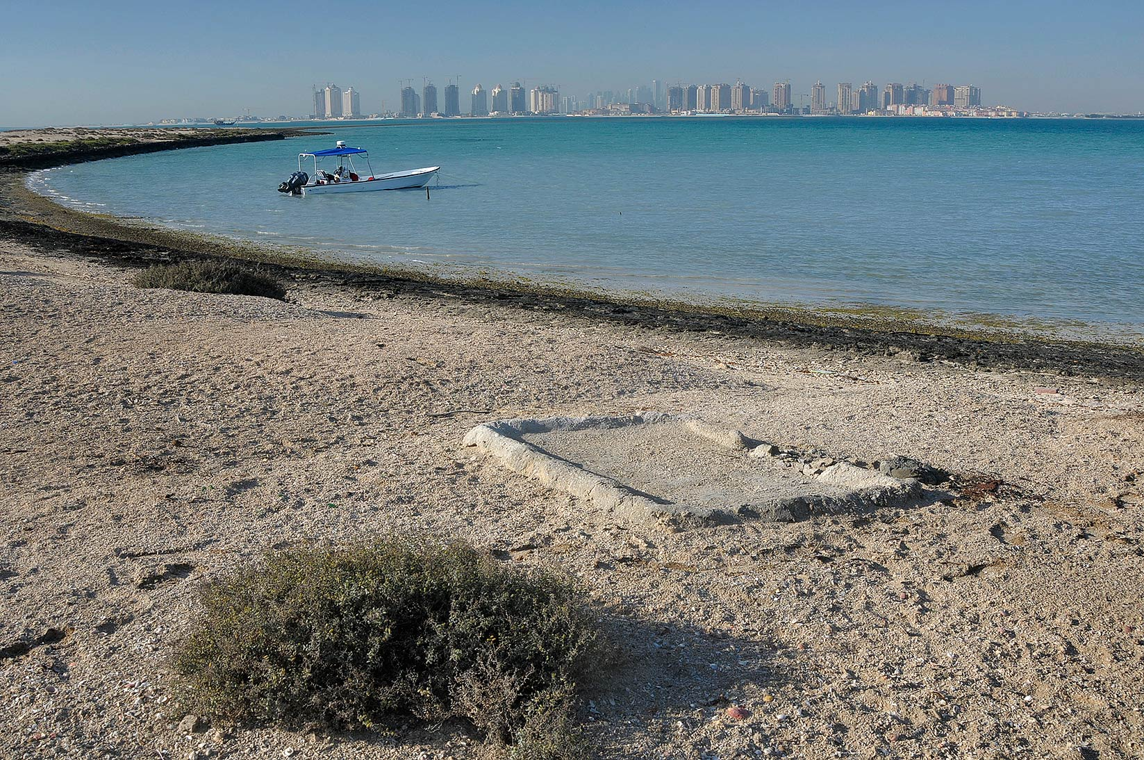 View from a beach in Al Aaliya Island (Jazirat al Aliyah). Qatar