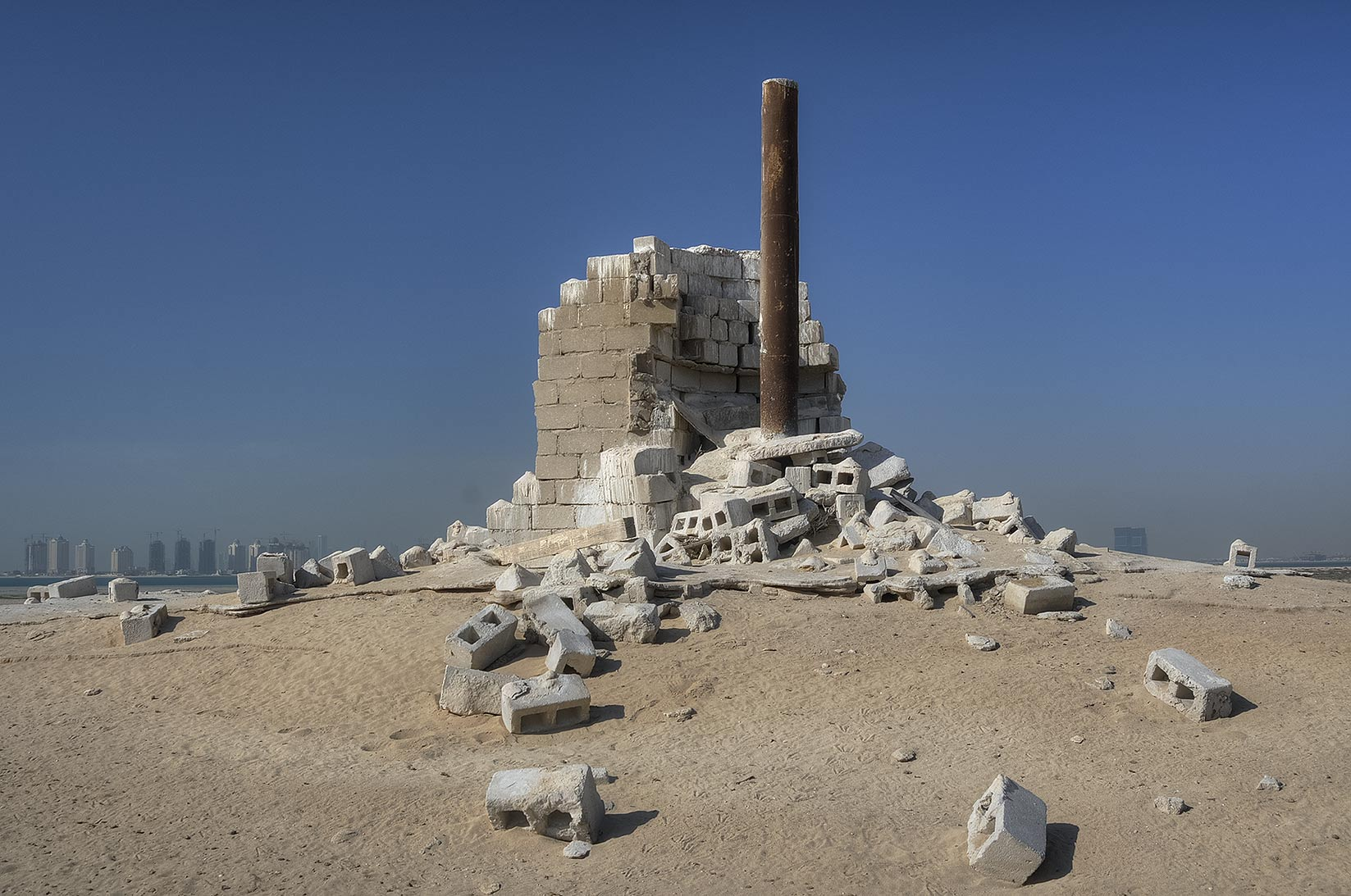 Chimney made from cinder blocks in Al Aaliya Island (Jazirat al Aliyah). Qatar