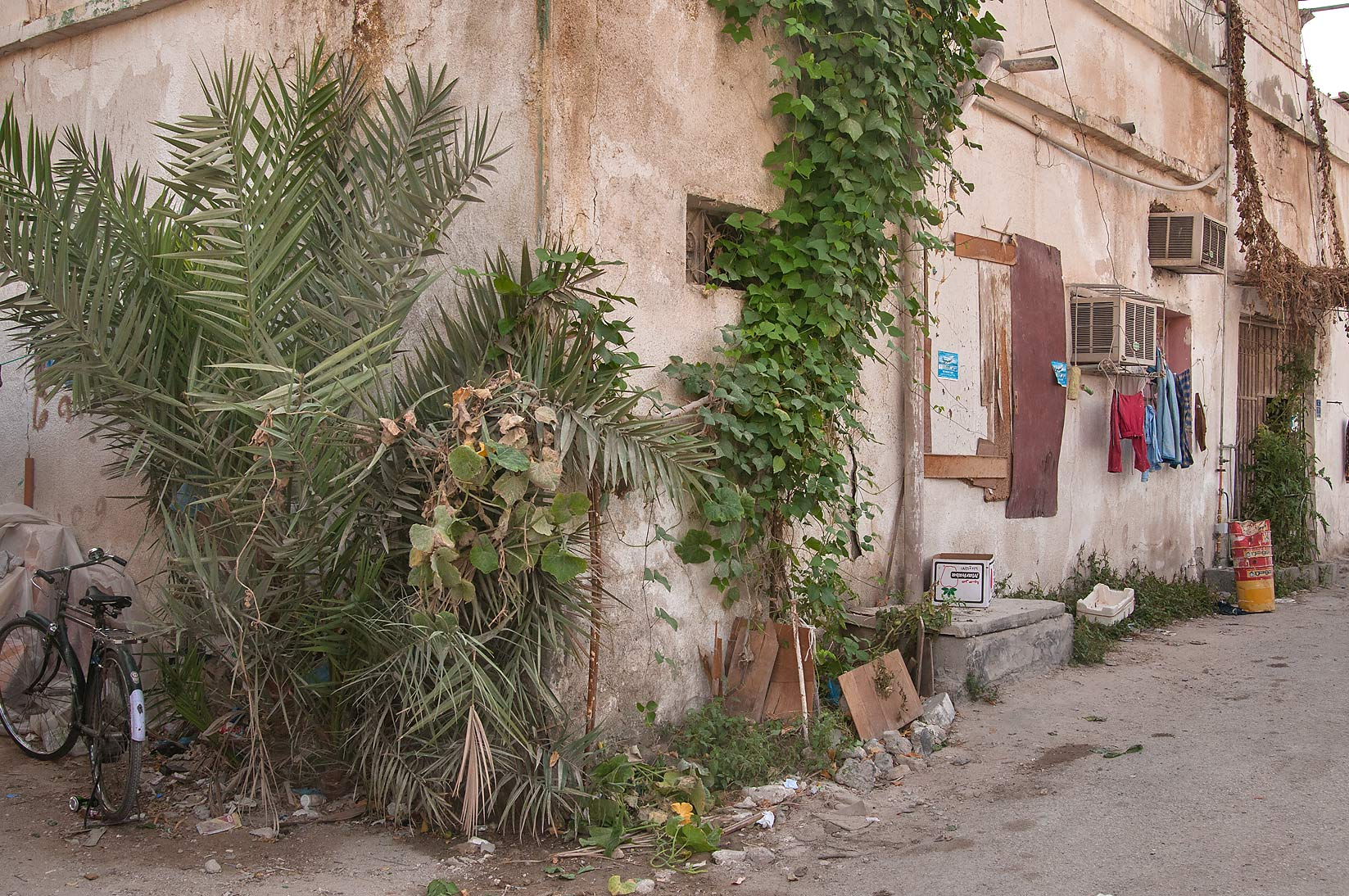 Corner of an old house at Al Maymoun St., Musheirib area. Doha, Qatar