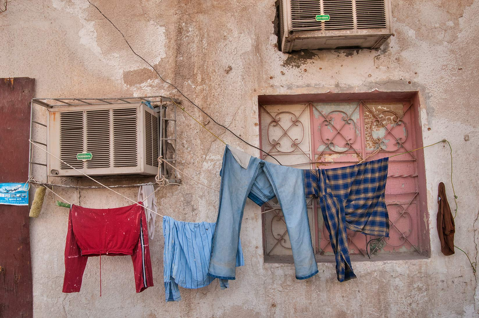 Drying laundry at Al Jassasiya St., Musheirib area. Doha, Qatar