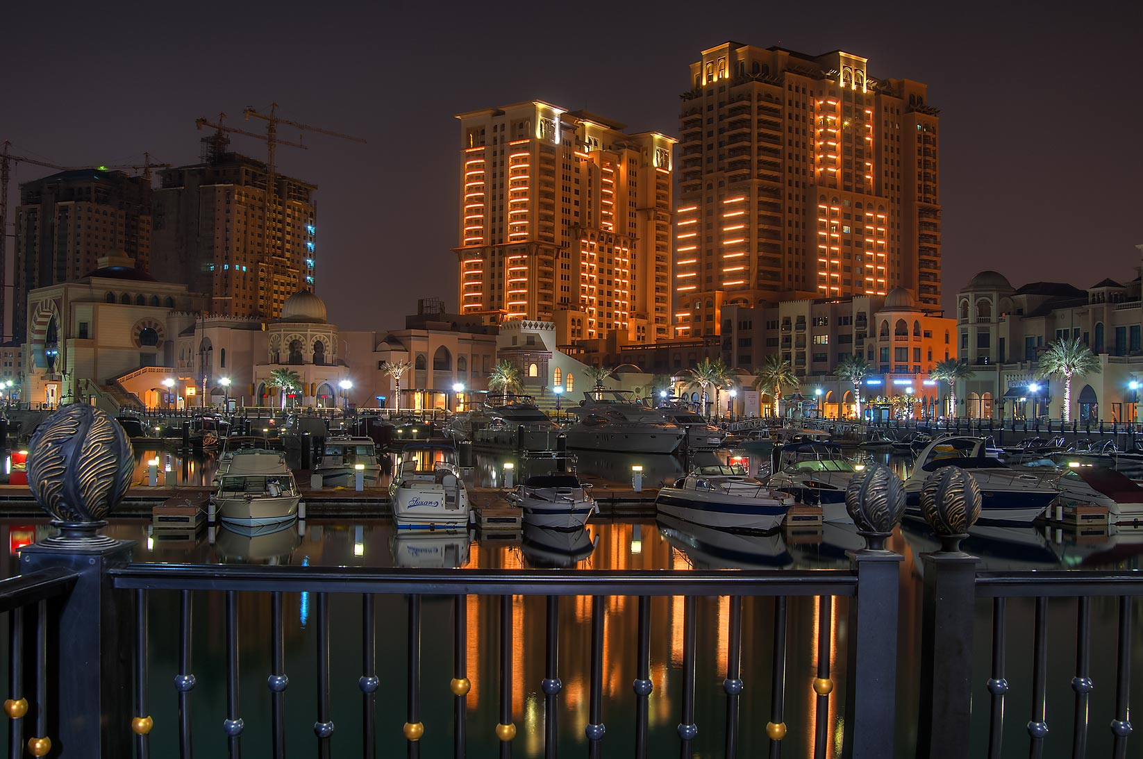 Pier of Porto Arabia in Pearl Qatar Development. Doha, Qatar