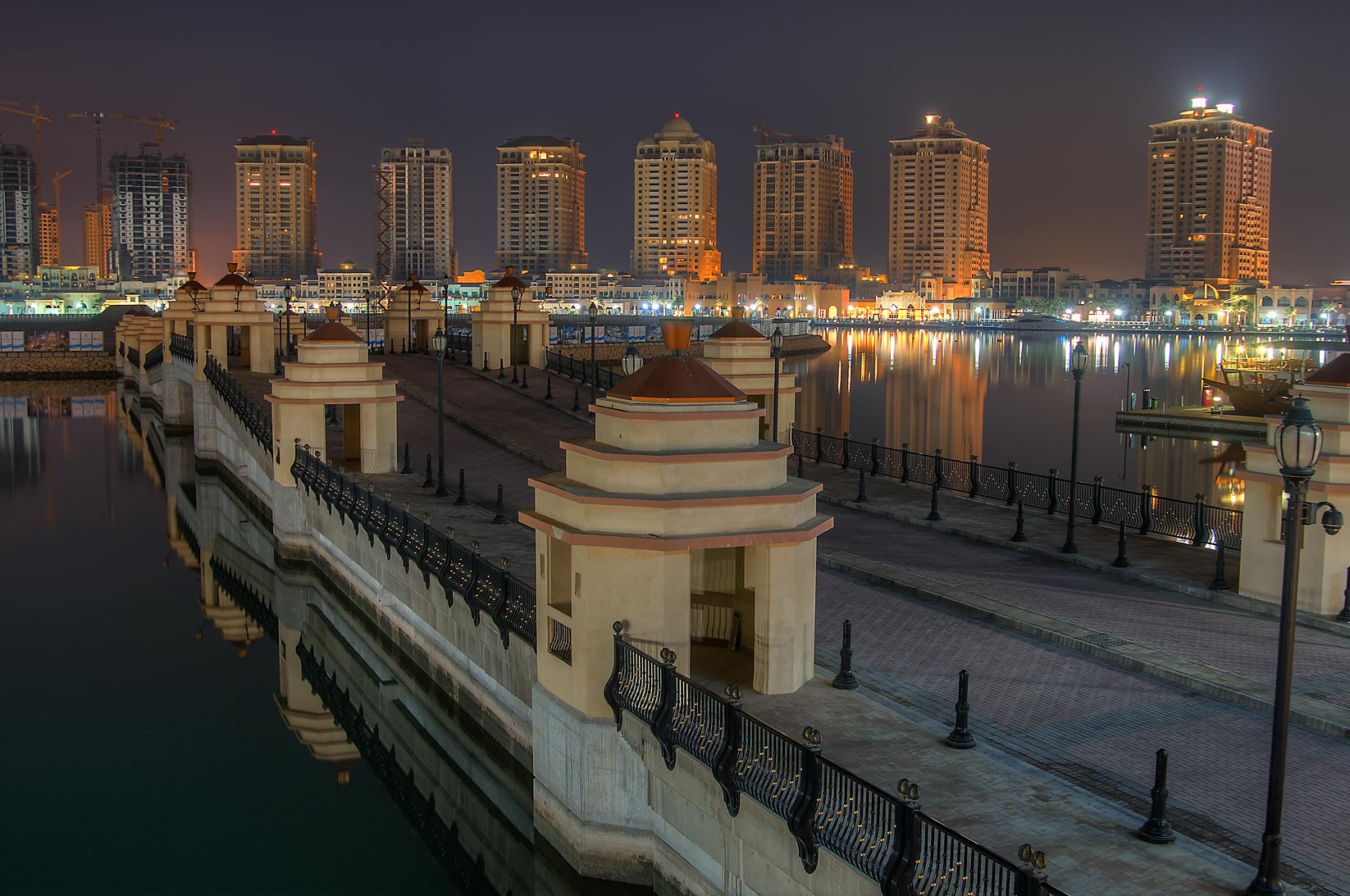 Bridge to Marsa Arabia in Porto Arabia in Pearl Qatar Development. Doha, Qatar