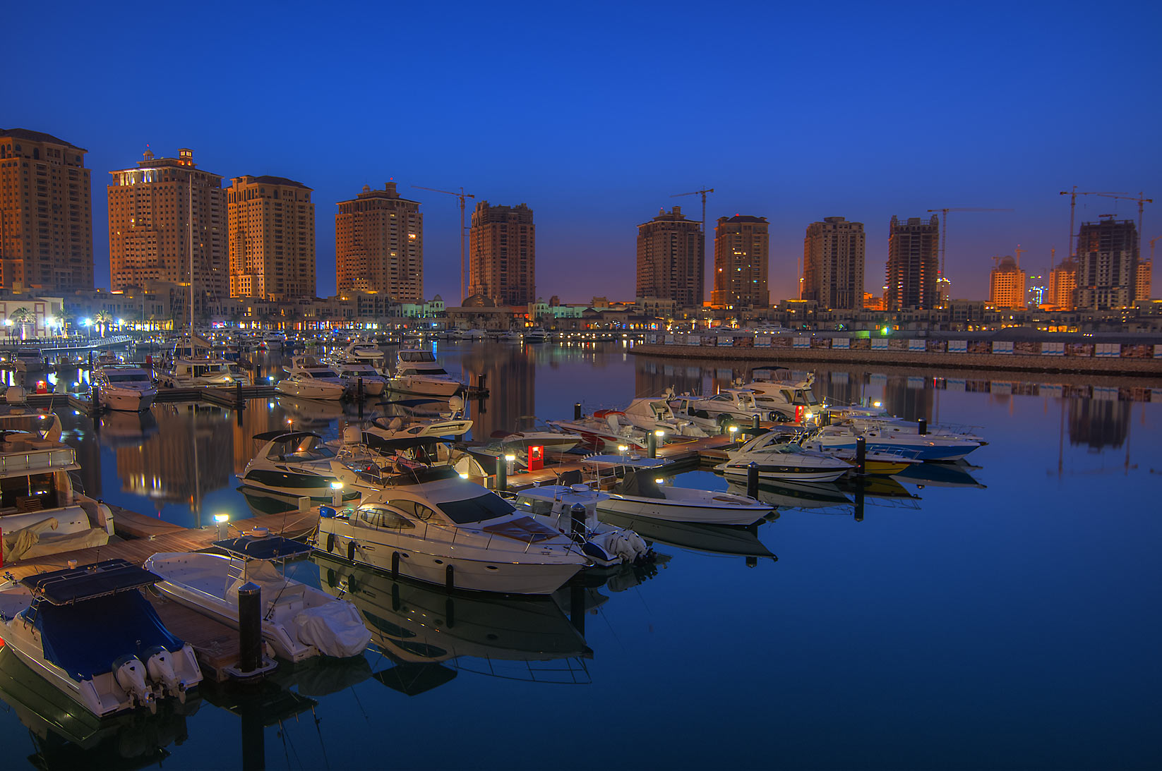Marina in Porto Arabia in Pearl Qatar Development at morning. Doha, Qatar