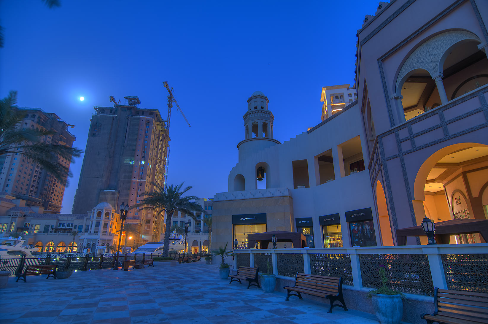 Guy Savoy restaurant in Porto Arabia in Pearl...at morning dusk. Doha, Qatar