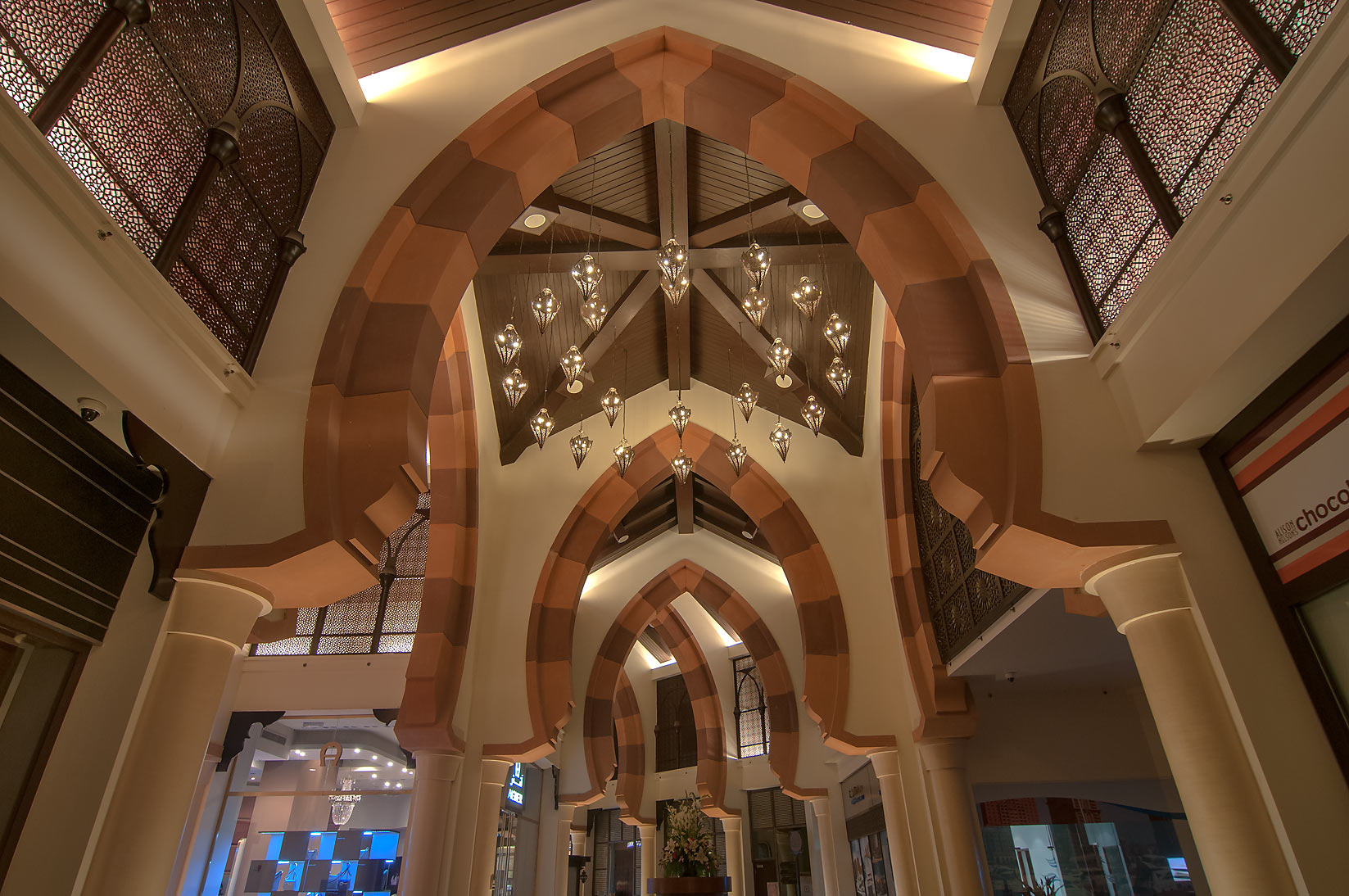 Domed ceiling of Porto Arabia shopping center in Pearl Qatar development. Doha, Qatar