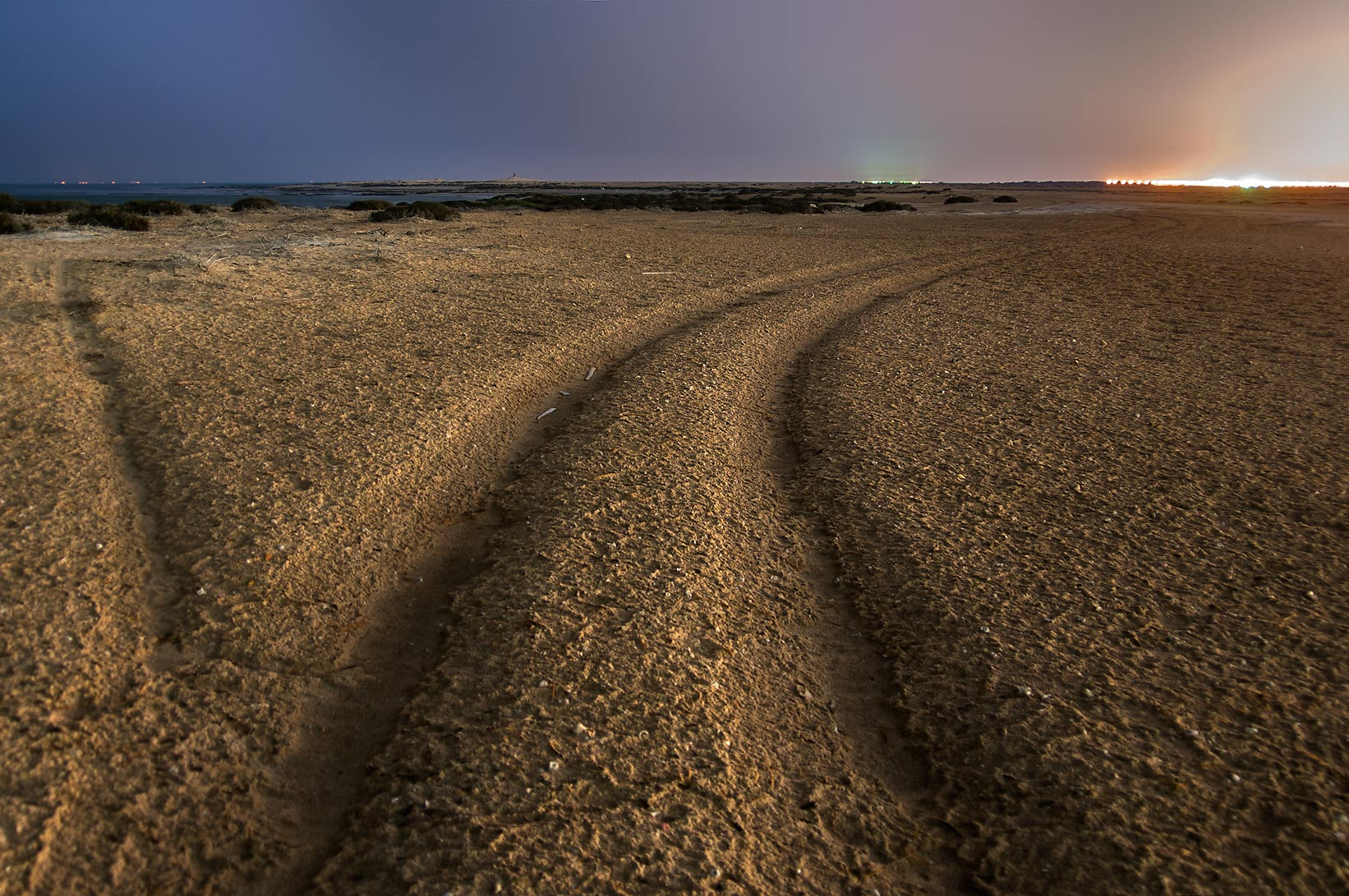 A road in Al Aaliya Island near Doha at evening. Qatar