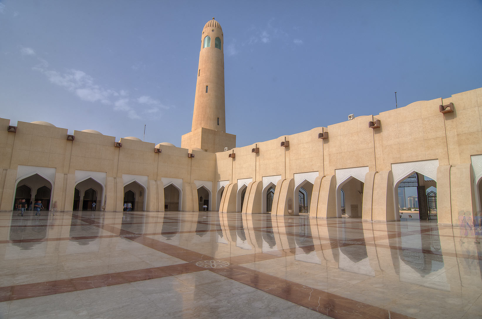 Women's section in sahn courtyard of State Mosque...Ibn Abdul Wahhab Mosque). Doha, Qatar