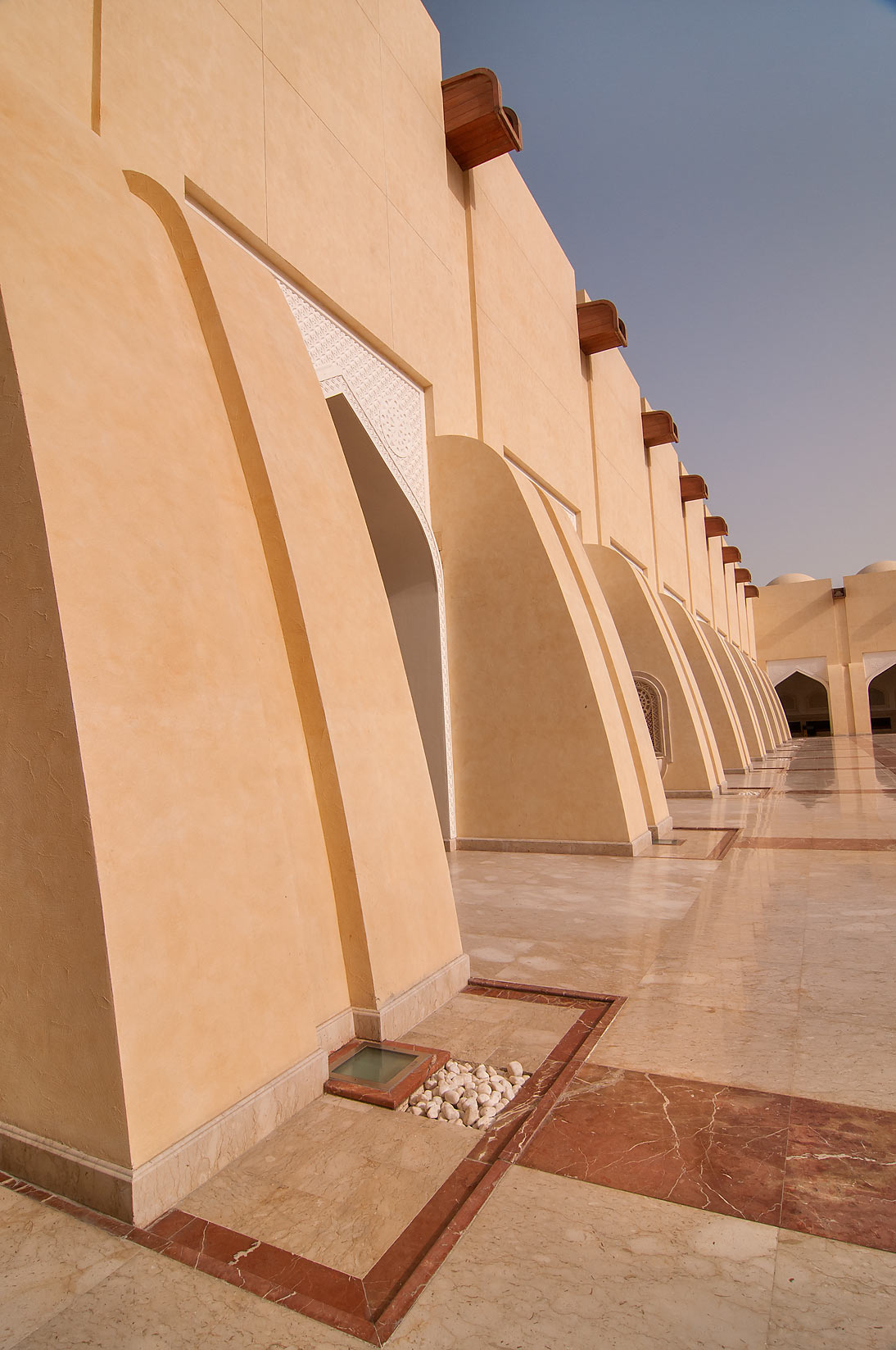 Border of courtyard of State Mosque (Sheikh Muhammad Ibn Abdul Wahhab Mosque). Doha, Qatar