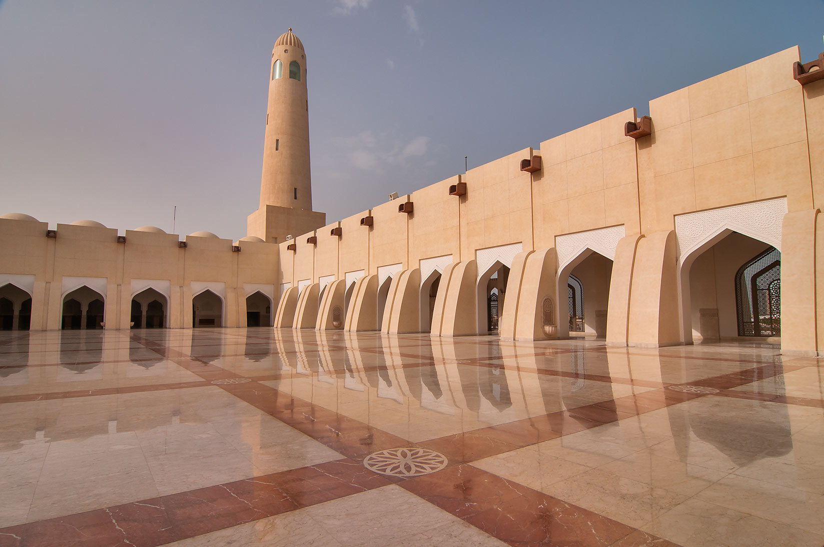 Sahn (courtyard) and minaret of State Mosque...Ibn Abdul Wahhab Mosque). Doha, Qatar