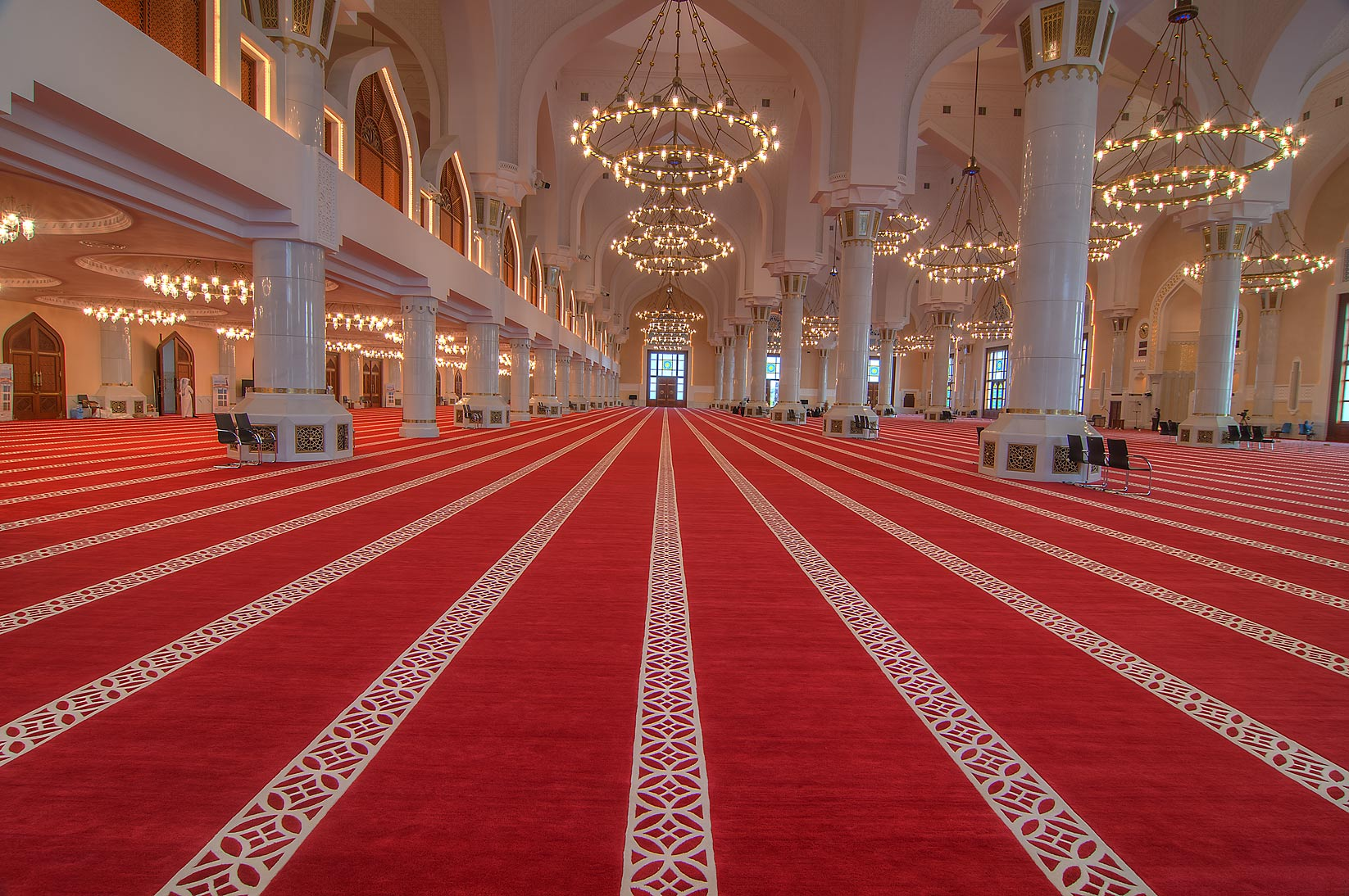 Red carpet inside prayer hall (musallah) showing...Ibn Abdul Wahhab Mosque). Doha, Qatar