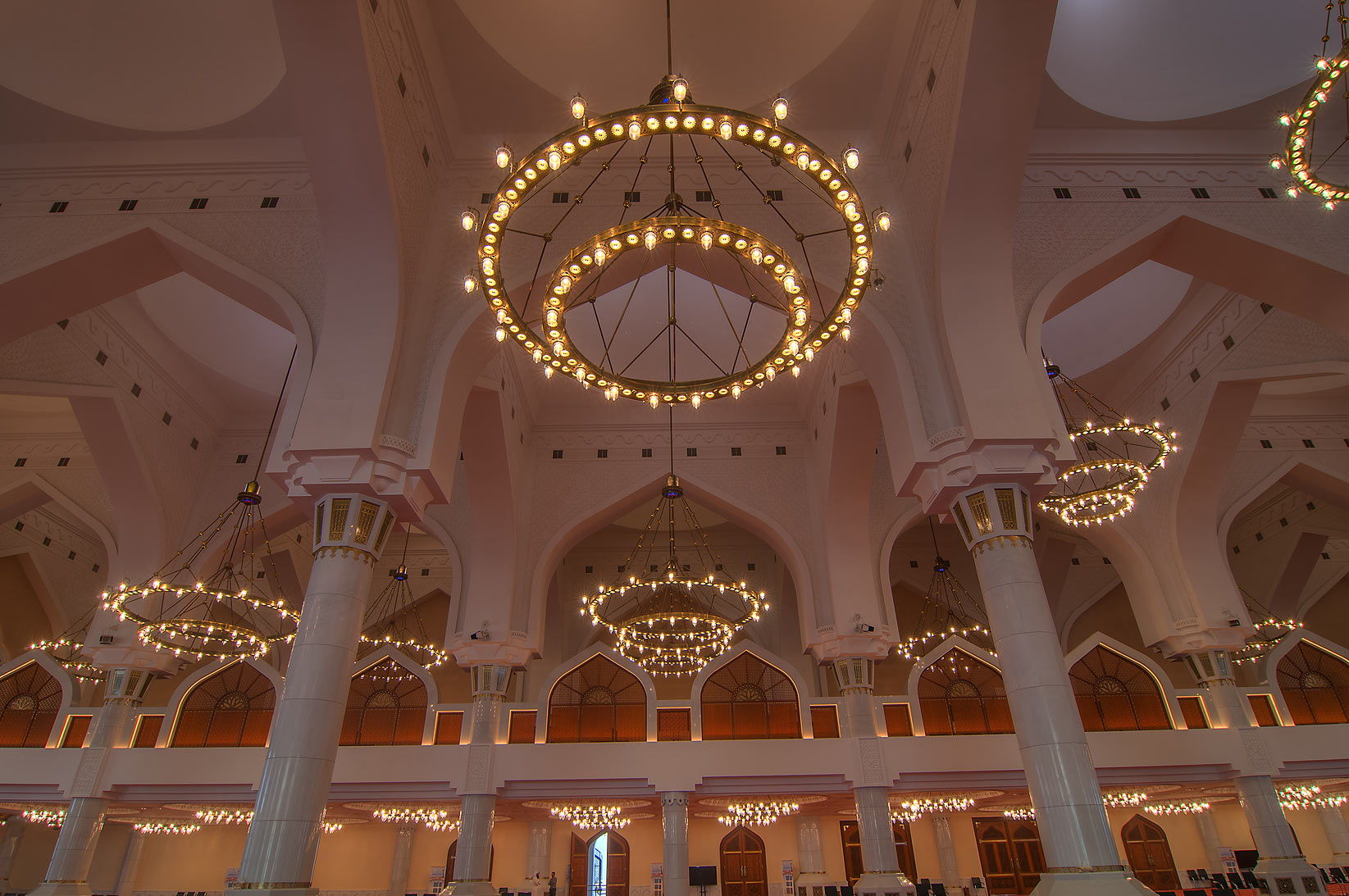 Chandeliers inside State Mosque (Sheikh Muhammad Ibn Abdul Wahhab Mosque). Doha, Qatar
