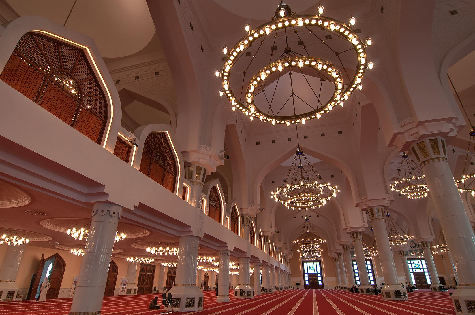 Balconies inside State Mosque (Sheikh Muhammad Ibn Abdul Wahhab Mosque). Doha, Qatar