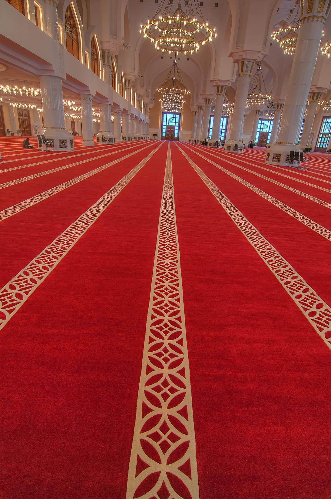 Red carpet showing direction to pray in rows...Ibn Abdul Wahhab Mosque). Doha, Qatar